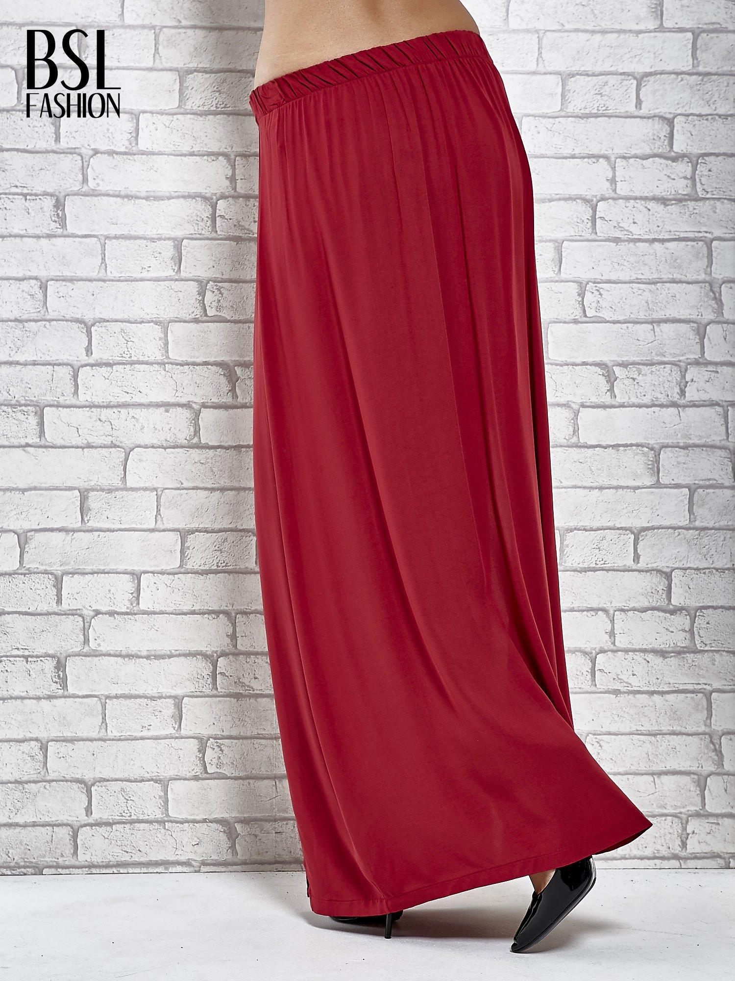 Bordowa spódnica maxi z rozporkami z przodu                                  zdj.                                  4