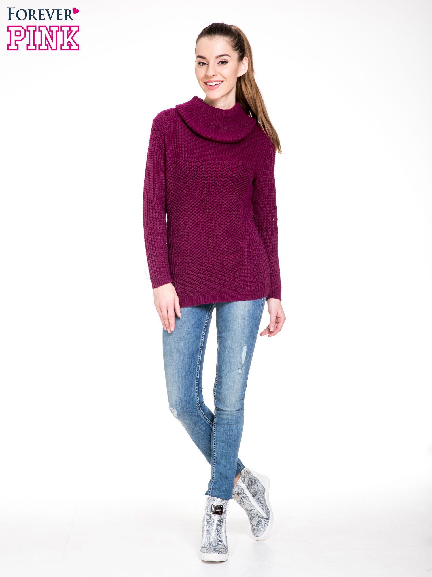 Bordowy ciepły sweter z golfowym kołnierzem                                  zdj.                                  2