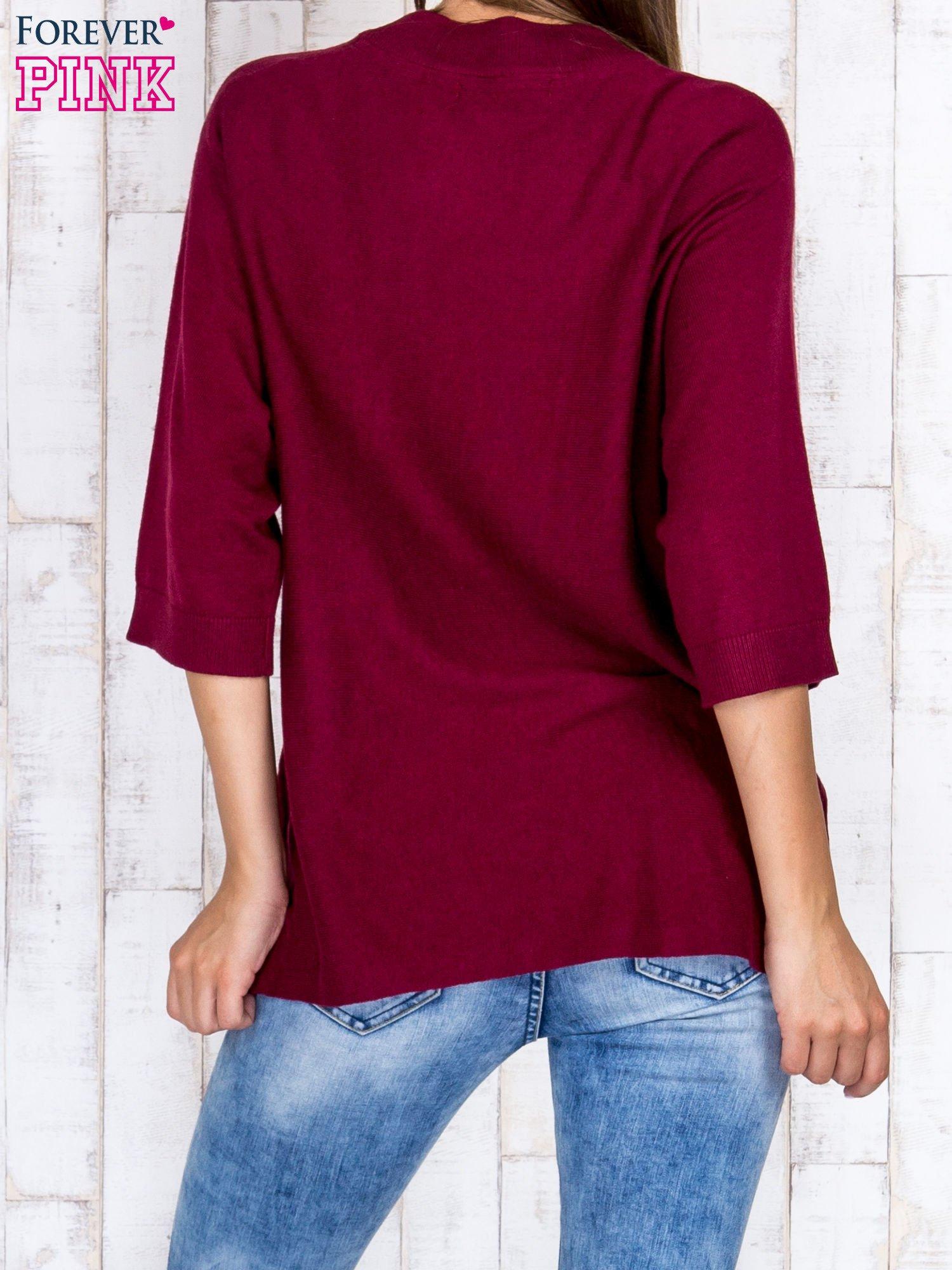 Bordowy luźny sweter oversize z bocznymi rozcięciami                                  zdj.                                  4
