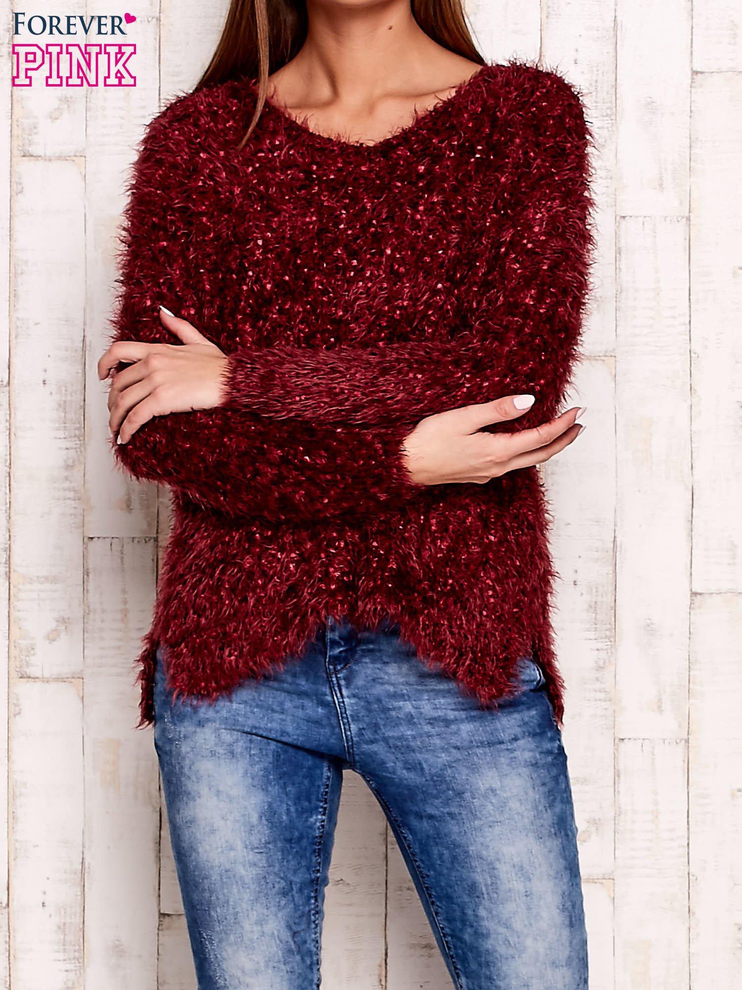 Bordowy sweter long hair                                  zdj.                                  1