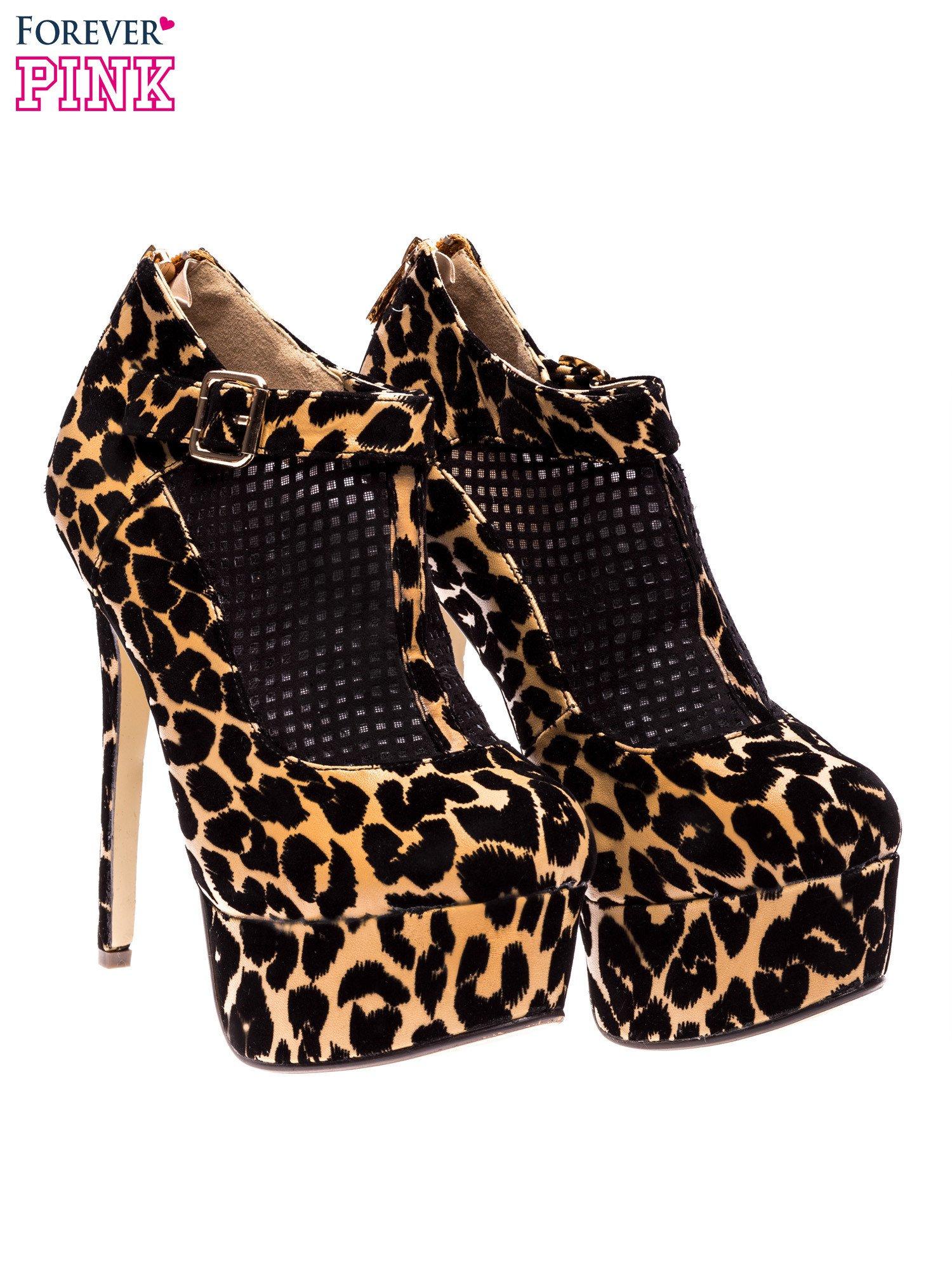 Botki leopard na platformie i obcasie                                  zdj.                                  2