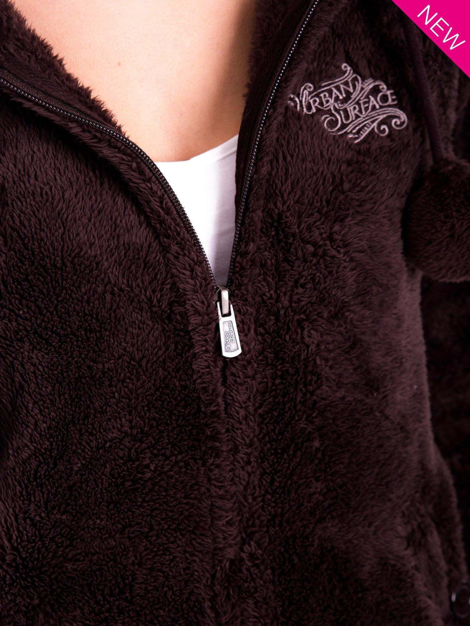 Brązowa bluza polarowa z kapturem z uszkami i pomponami                                  zdj.                                  11