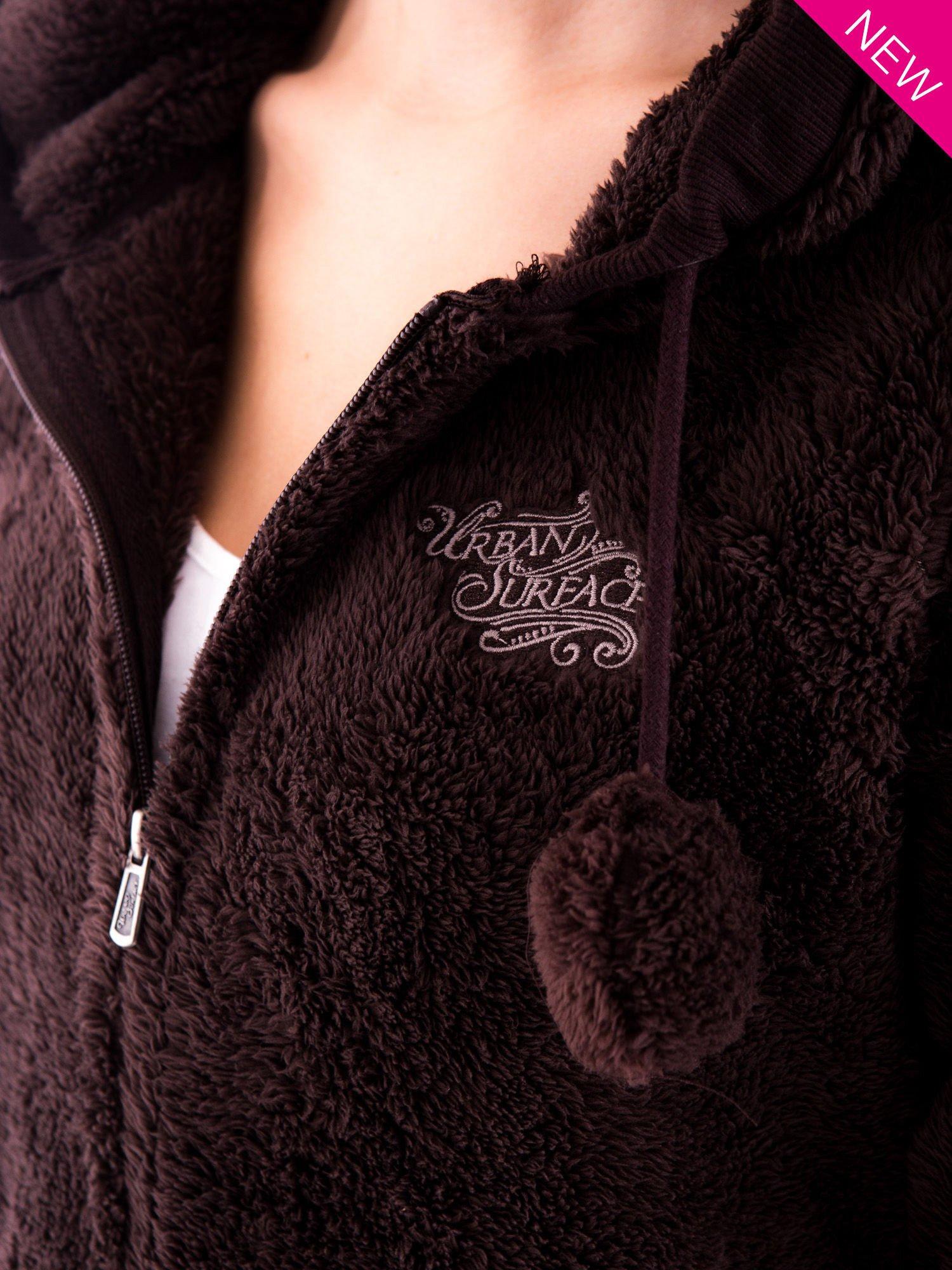 Brązowa bluza polarowa z kapturem z uszkami i pomponami                                  zdj.                                  6