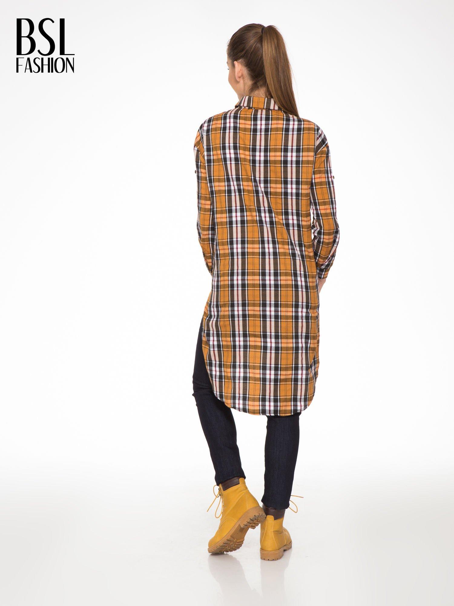 Brązowa długa koszula w kratę w kratę z kieszeniami                                  zdj.                                  4