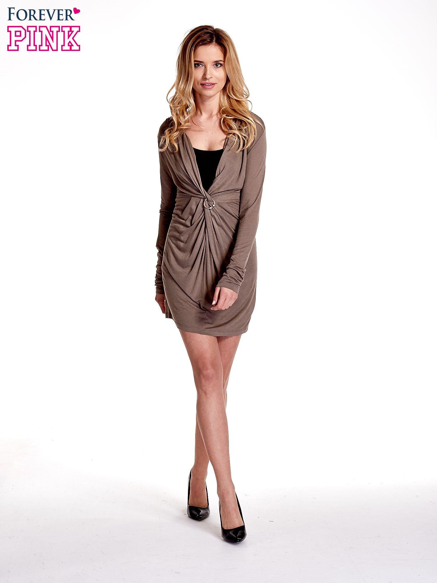 Brązowa drapowana sukienka                                   zdj.                                  7