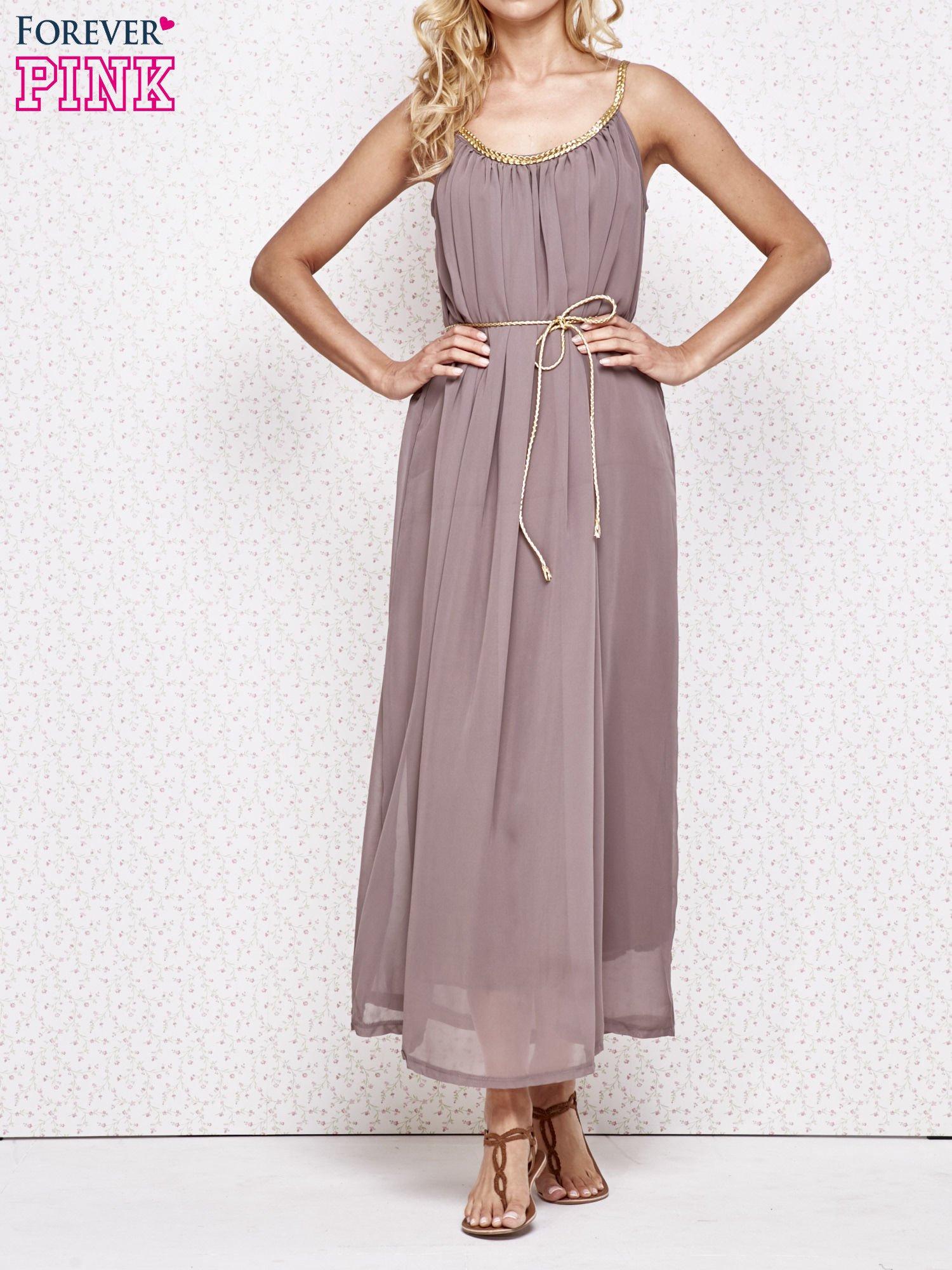Brązowa grecka sukienka maxi ze złotym paskiem                                  zdj.                                  1