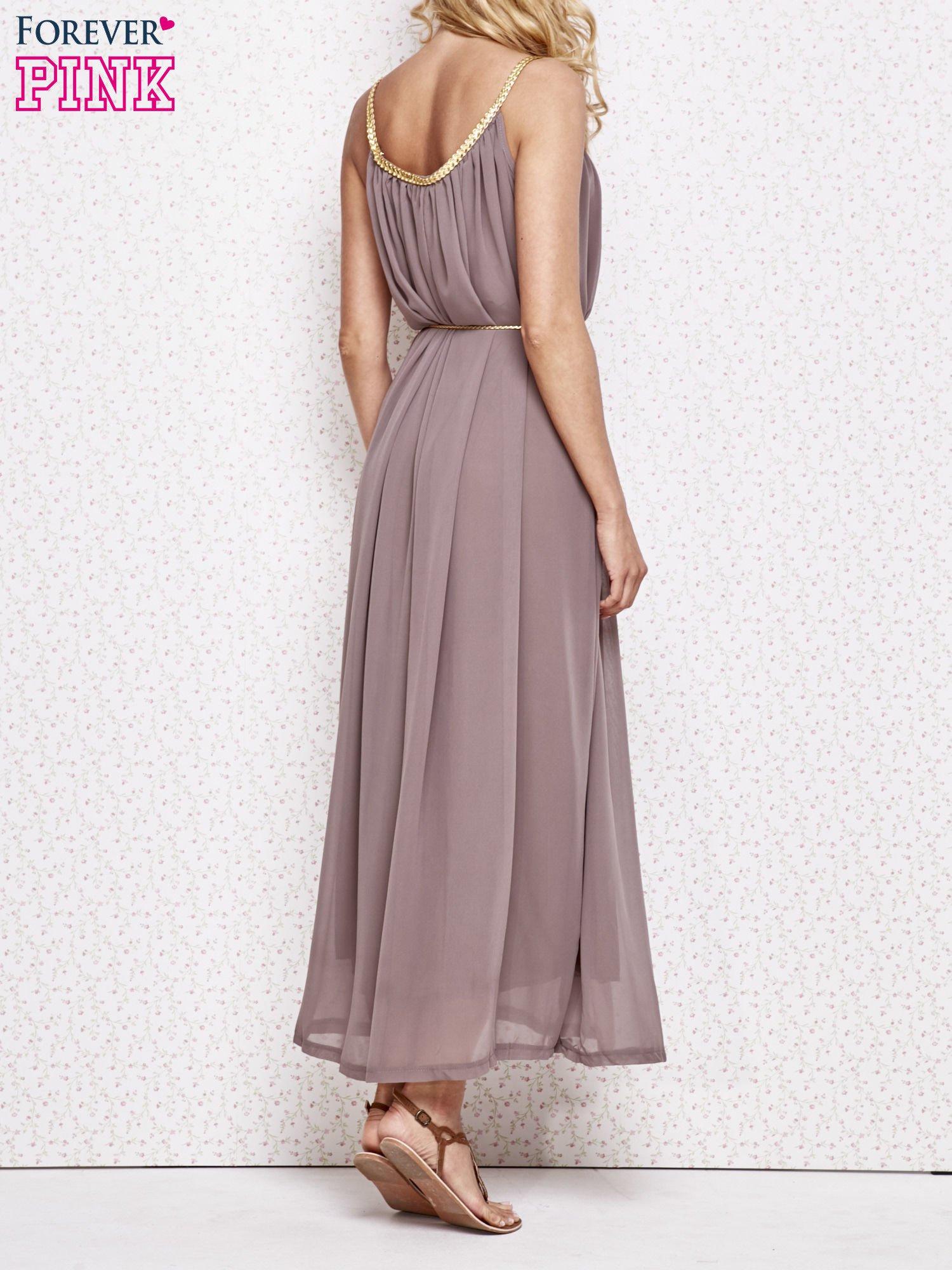 Brązowa grecka sukienka maxi ze złotym paskiem                                  zdj.                                  4