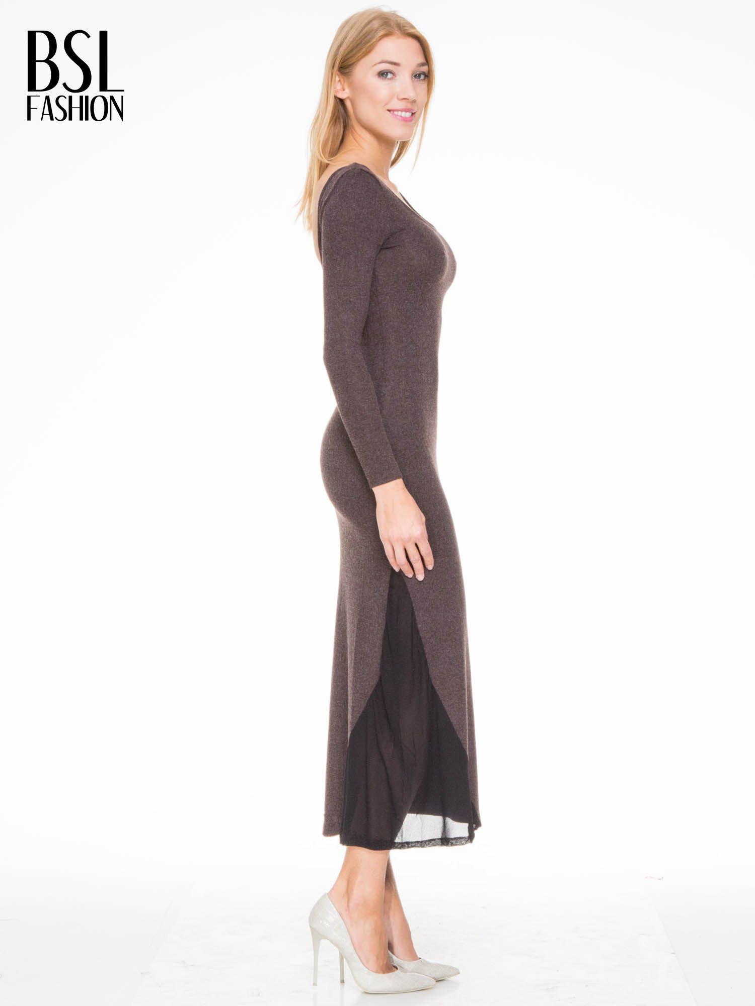 Brązowa maxi sukienka z asymetryczną wstawką na dole z tiulu                                  zdj.                                  3