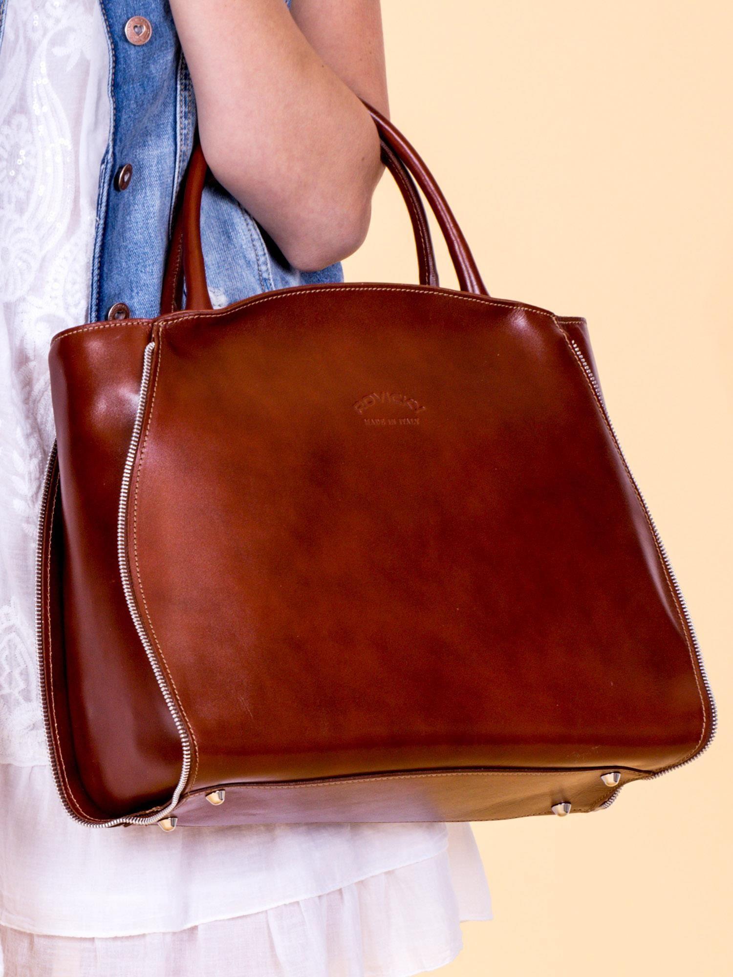 Brązowa skórzana damska torba shopper na ramię