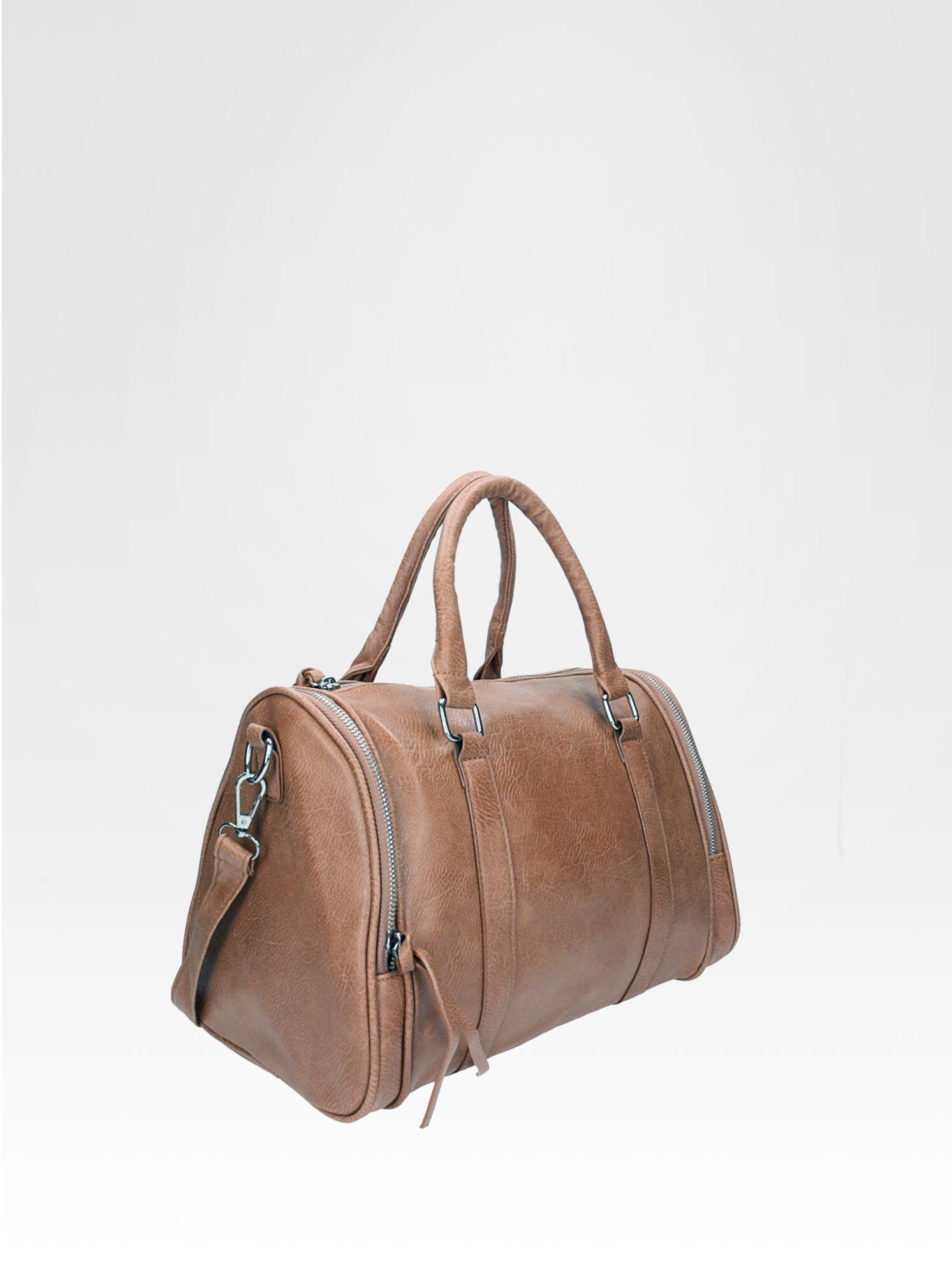 Brązowa torba bowling z suwakami                                  zdj.                                  2