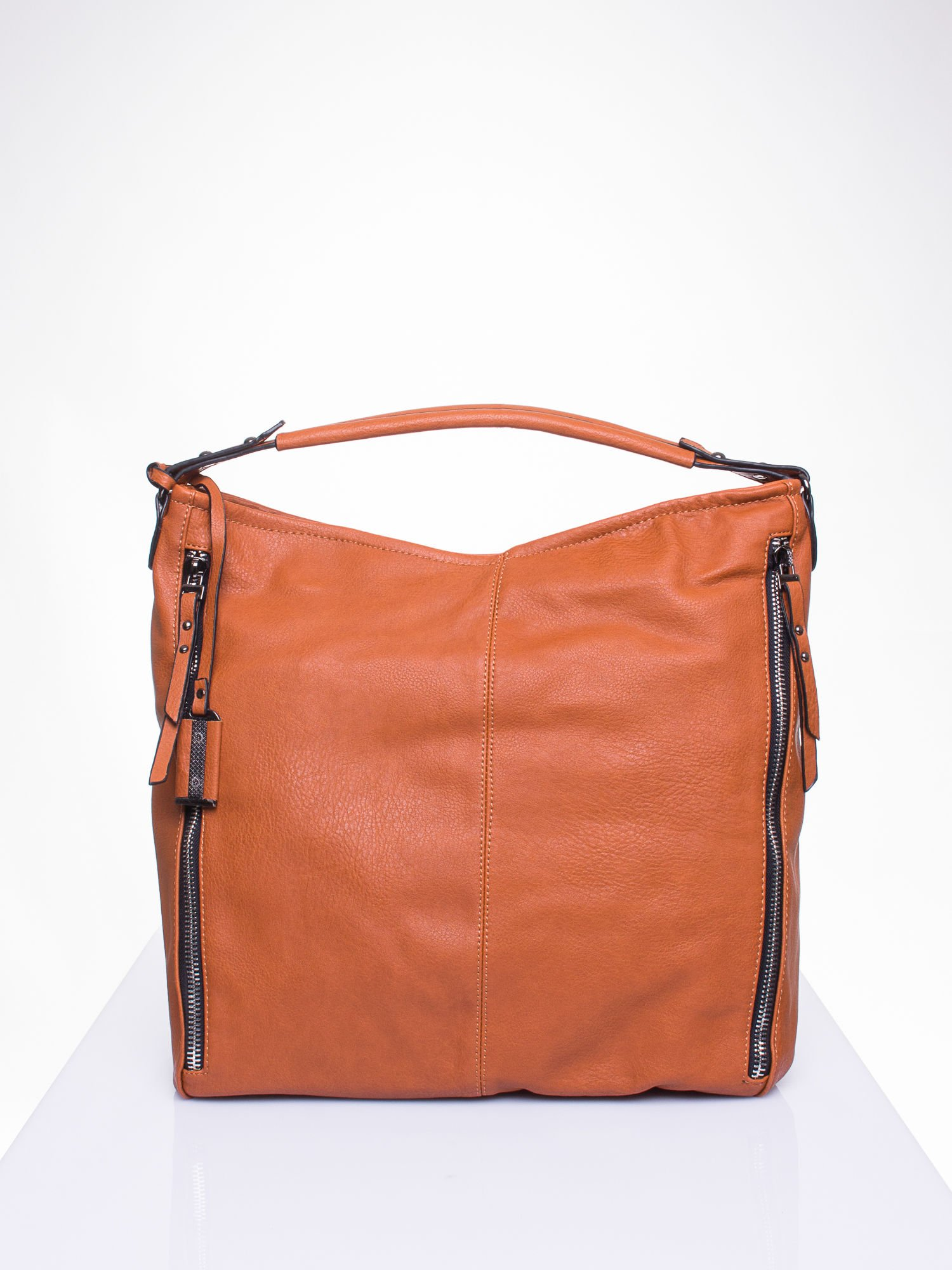 Brązowa torba hobo z suwakami po bokach                                  zdj.                                  2