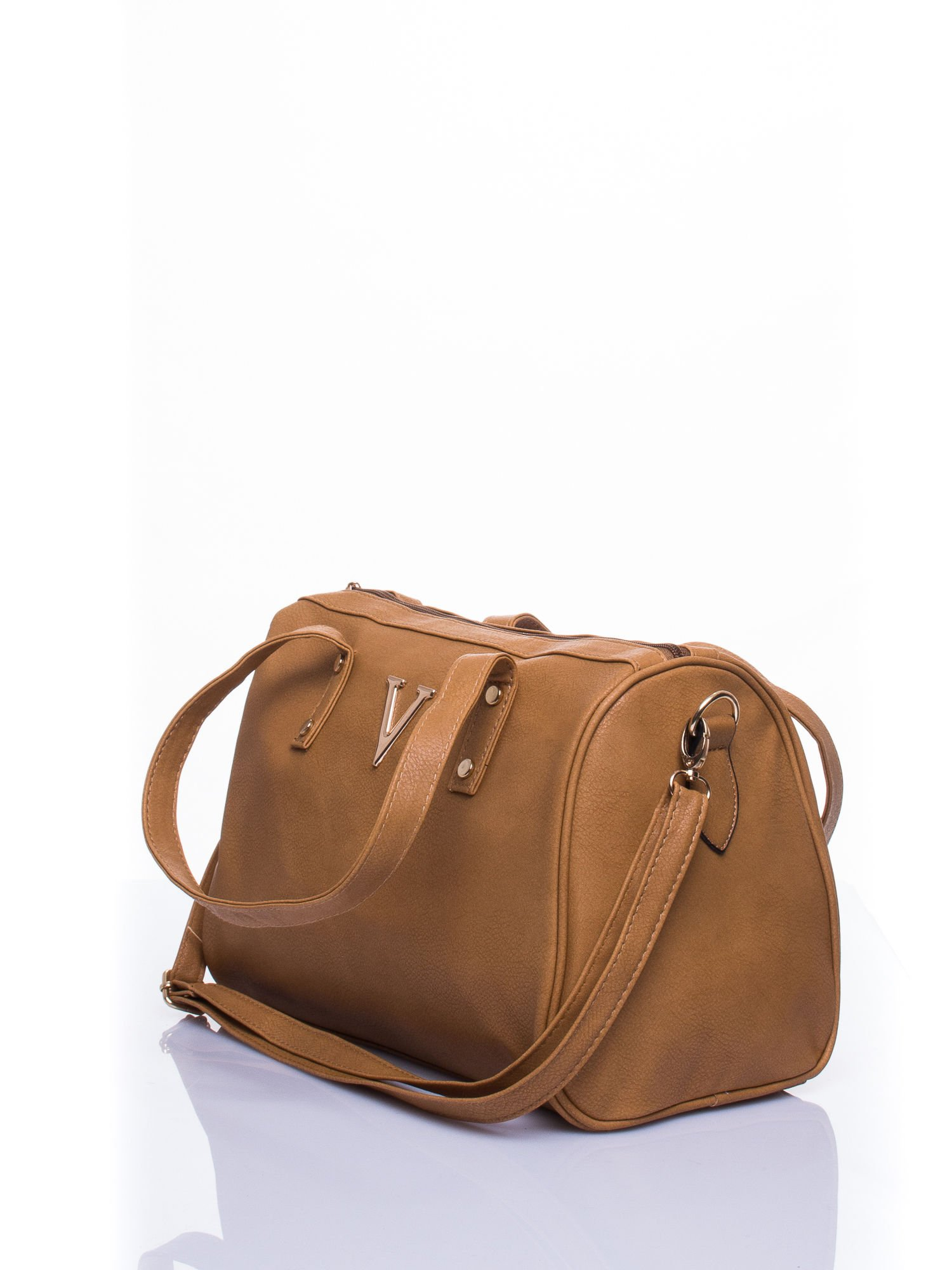 Brązowa torba na ramię ze złotym emblematem                                  zdj.                                  4