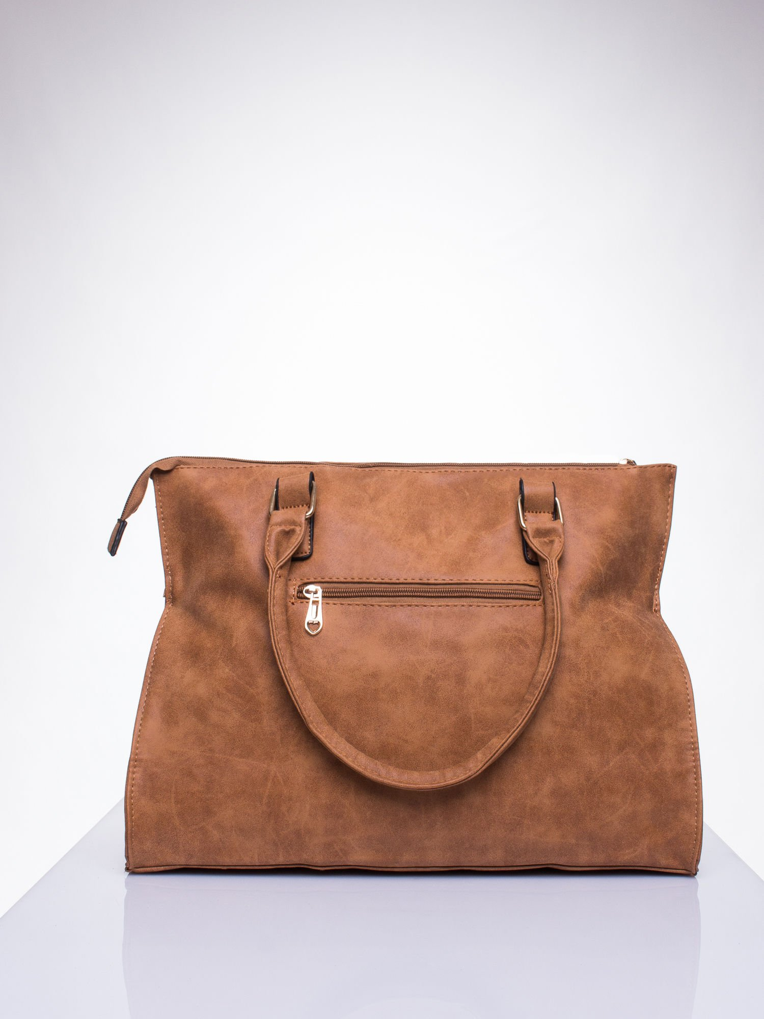 Brązowa torba shopper bag ze złotymi ćwiekami                                  zdj.                                  3