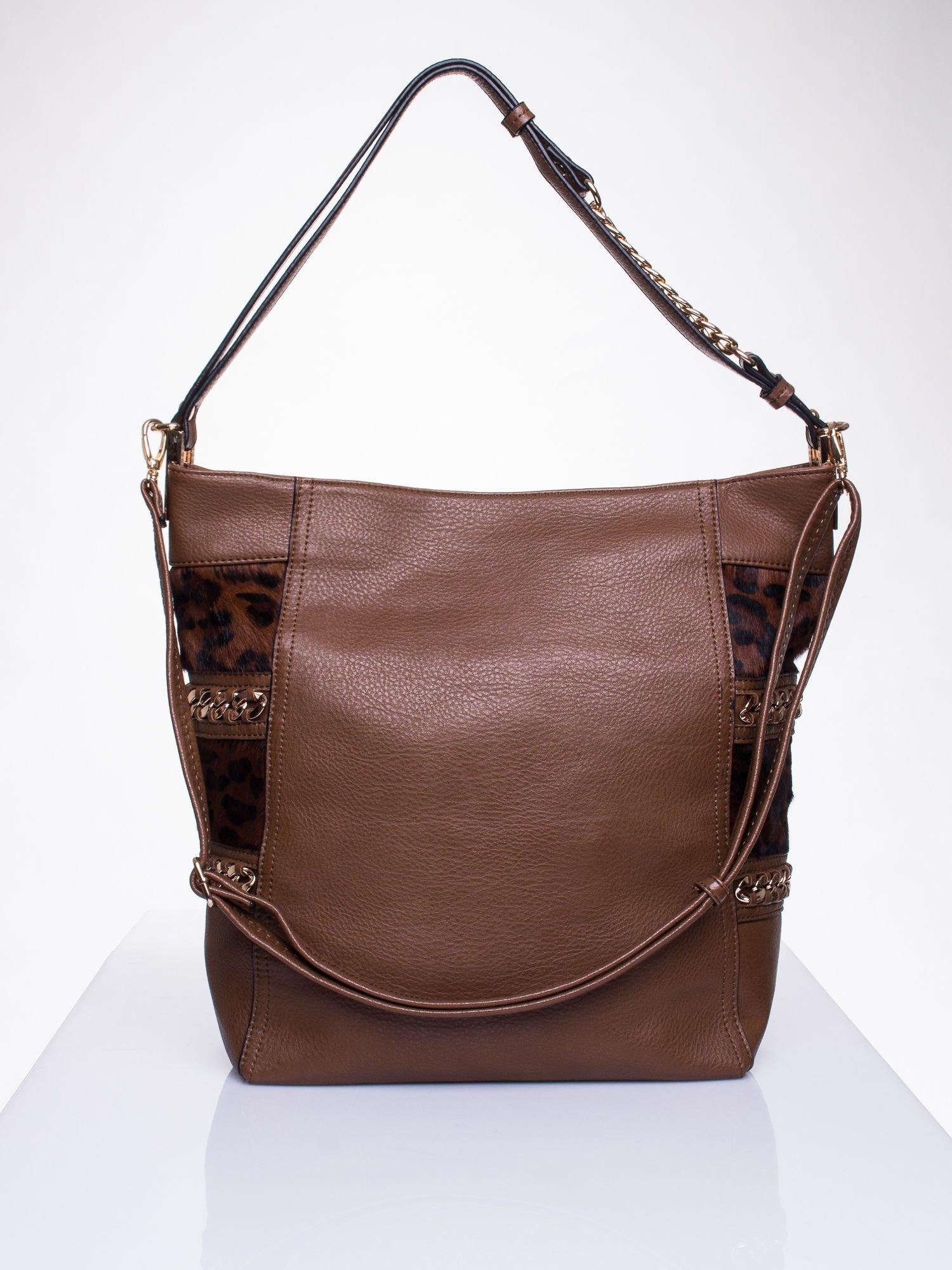 Brązowa torba z motywem panterkowym i odpinanym paskiem                                  zdj.                                  1