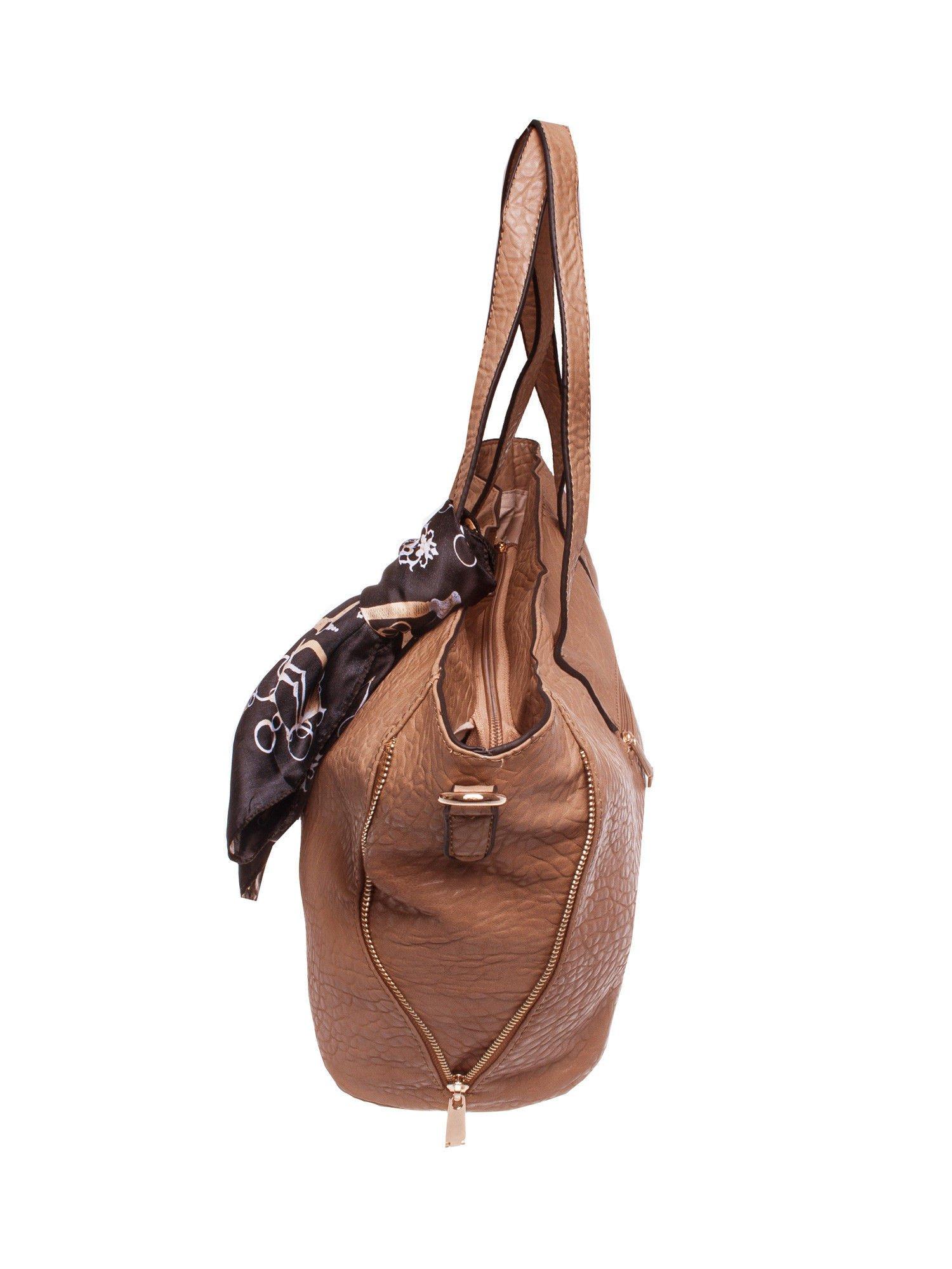Brązowa torebka shopper bag z apaszką                                  zdj.                                  3