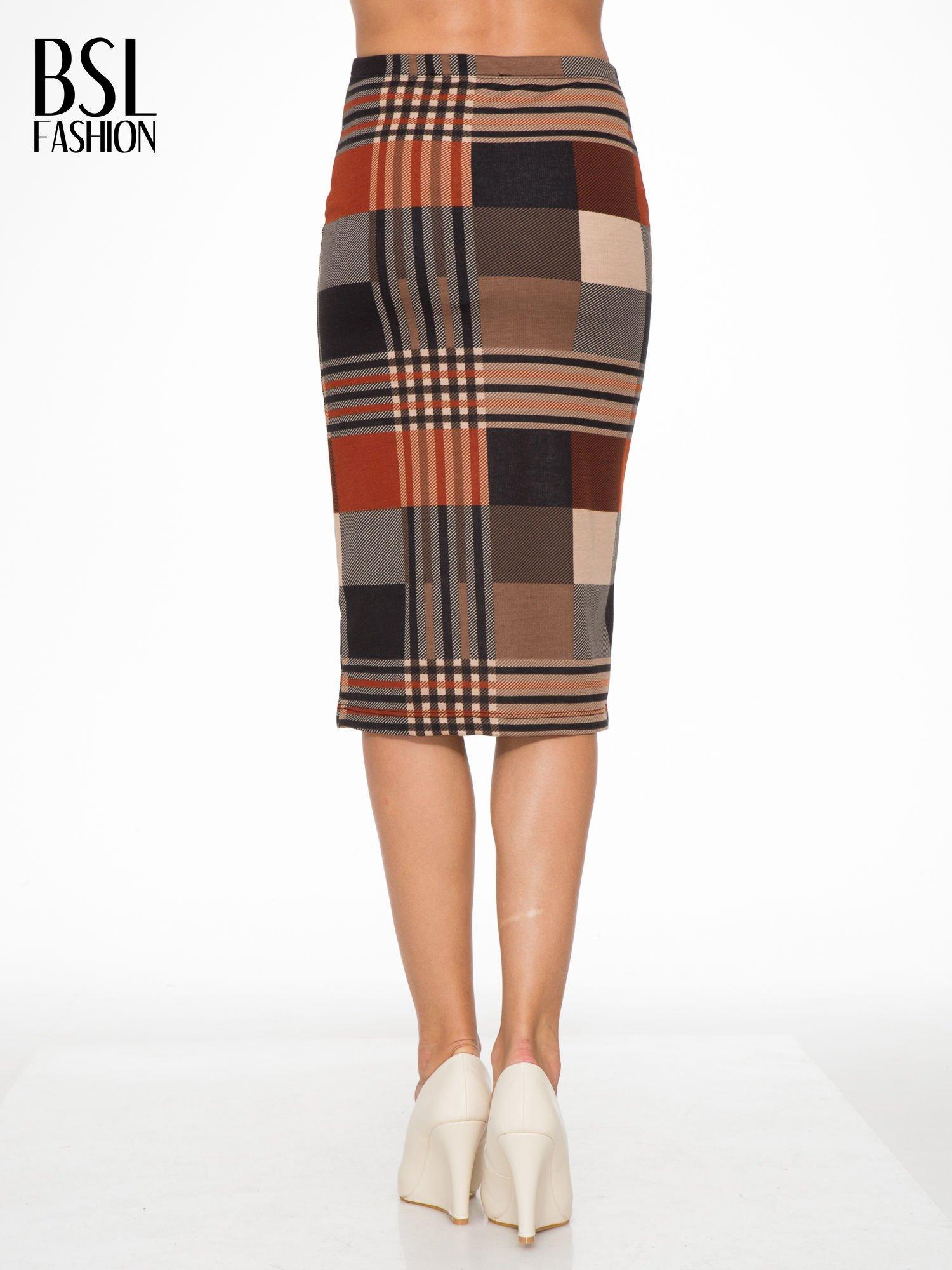 Brązowa wełniana ołówkowa spódnica w geometryczny nadruk                                  zdj.                                  4