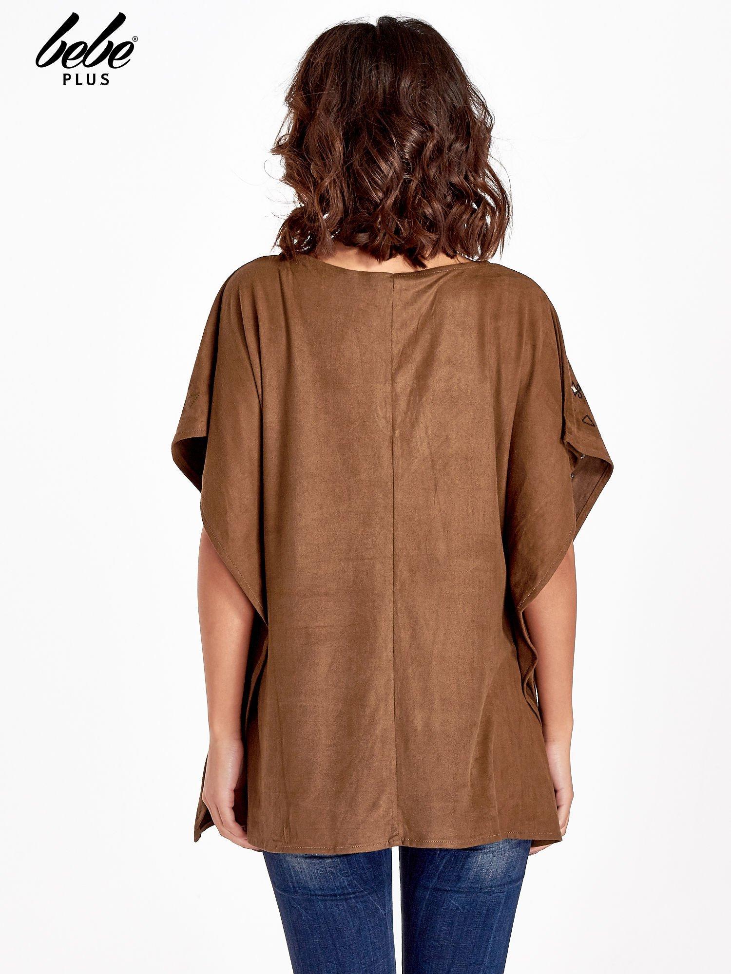 Brązowa zamszowa bluzka z haftem w stylu boho                                  zdj.                                  3