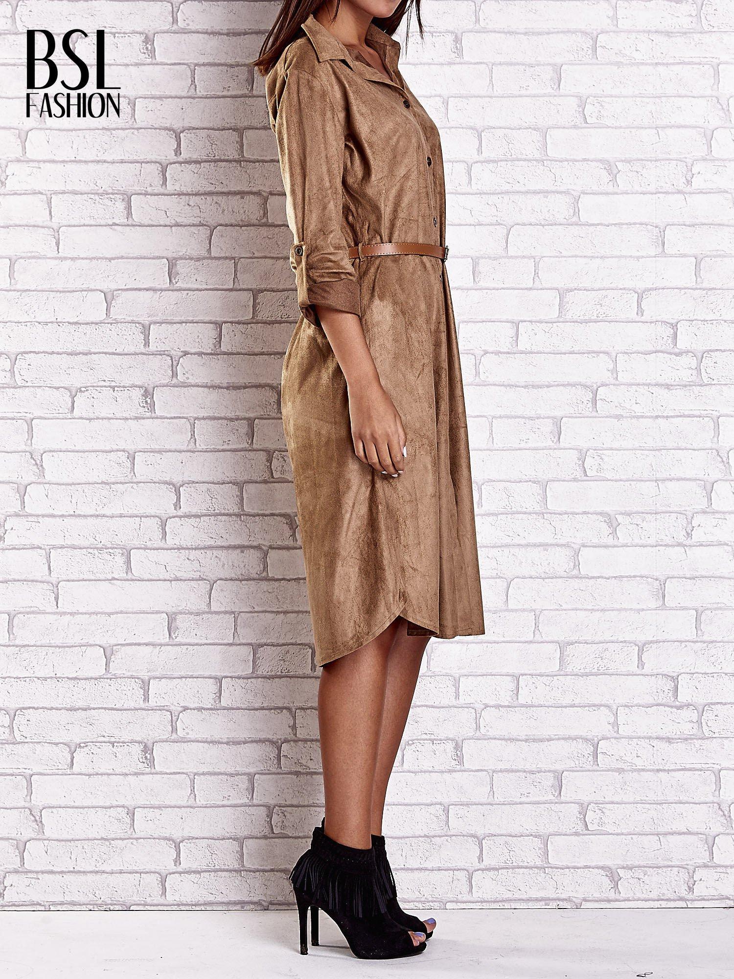 Brązowa zamszowa sukienka z rozcięciami po bokach                                  zdj.                                  3