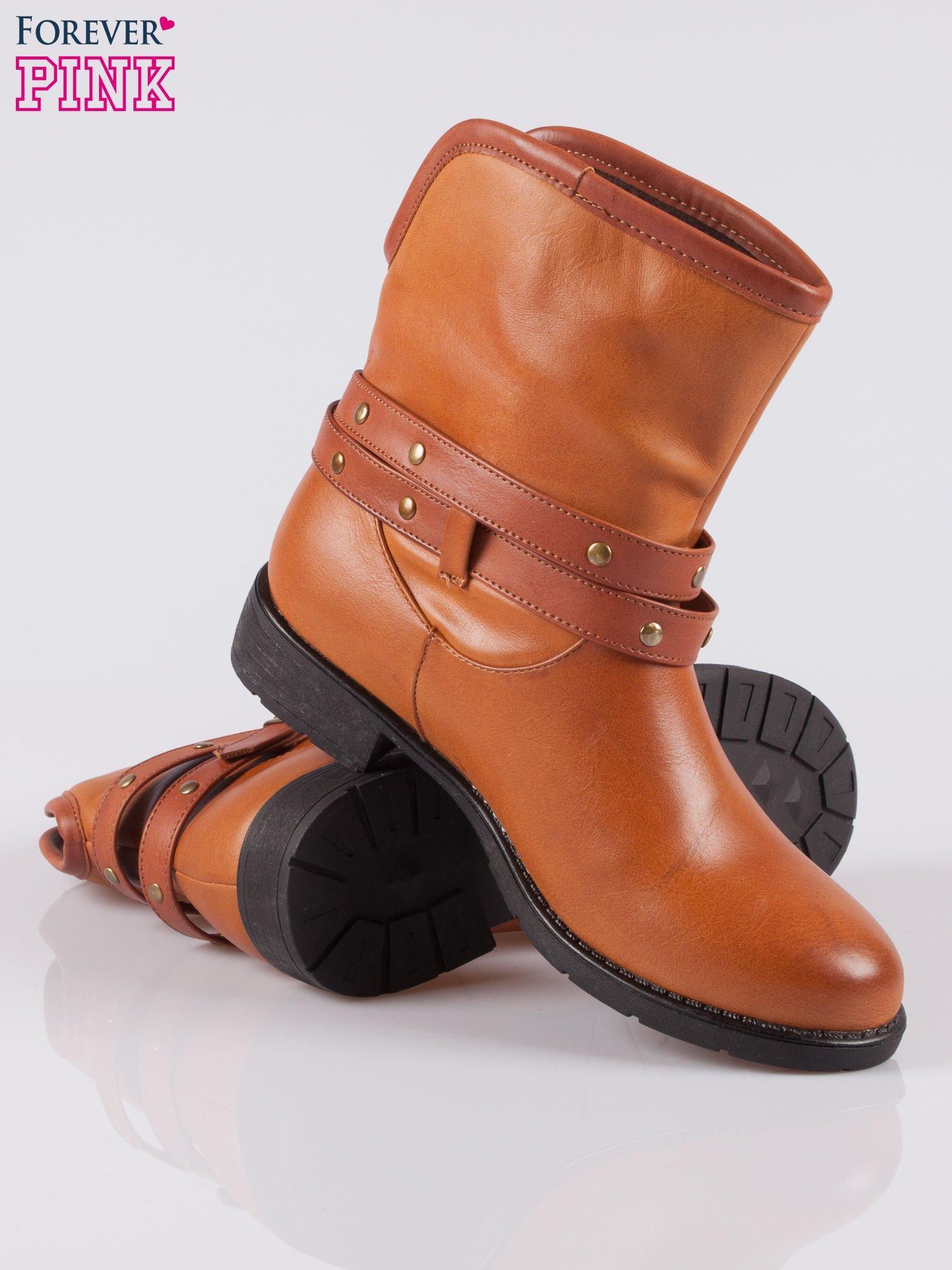 Brązowe botki w stylu biker boots                                  zdj.                                  4