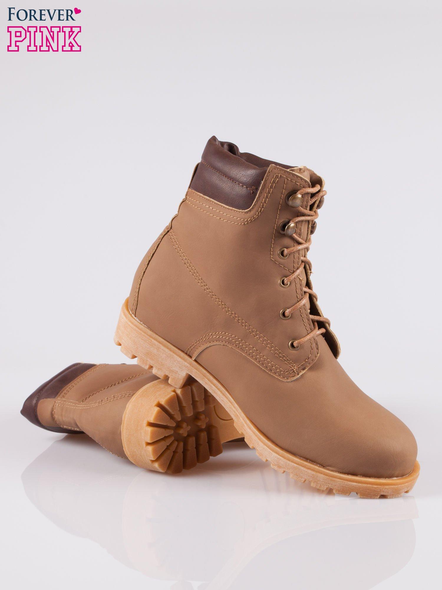 Brązowe buty trekkingowe damskie typu traperki                                  zdj.                                  4