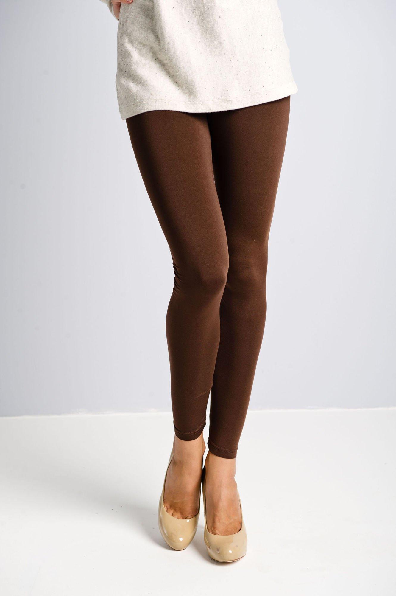 Brązowe gładkie legginsy                                  zdj.                                  2