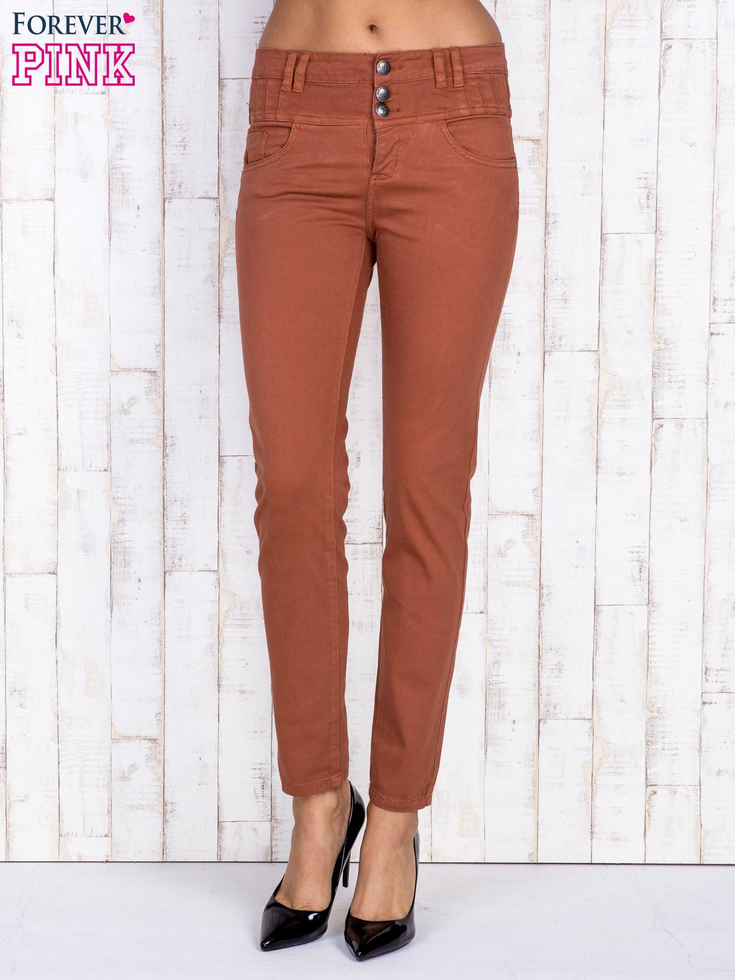 Brązowe jeansowe spodnie skinny z wysokim stanem                                  zdj.                                  1