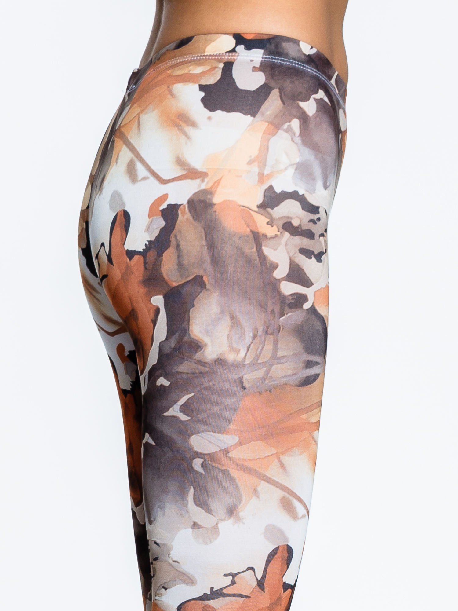 Brązowe legginsy w wielobarwne wzory                                  zdj.                                  6