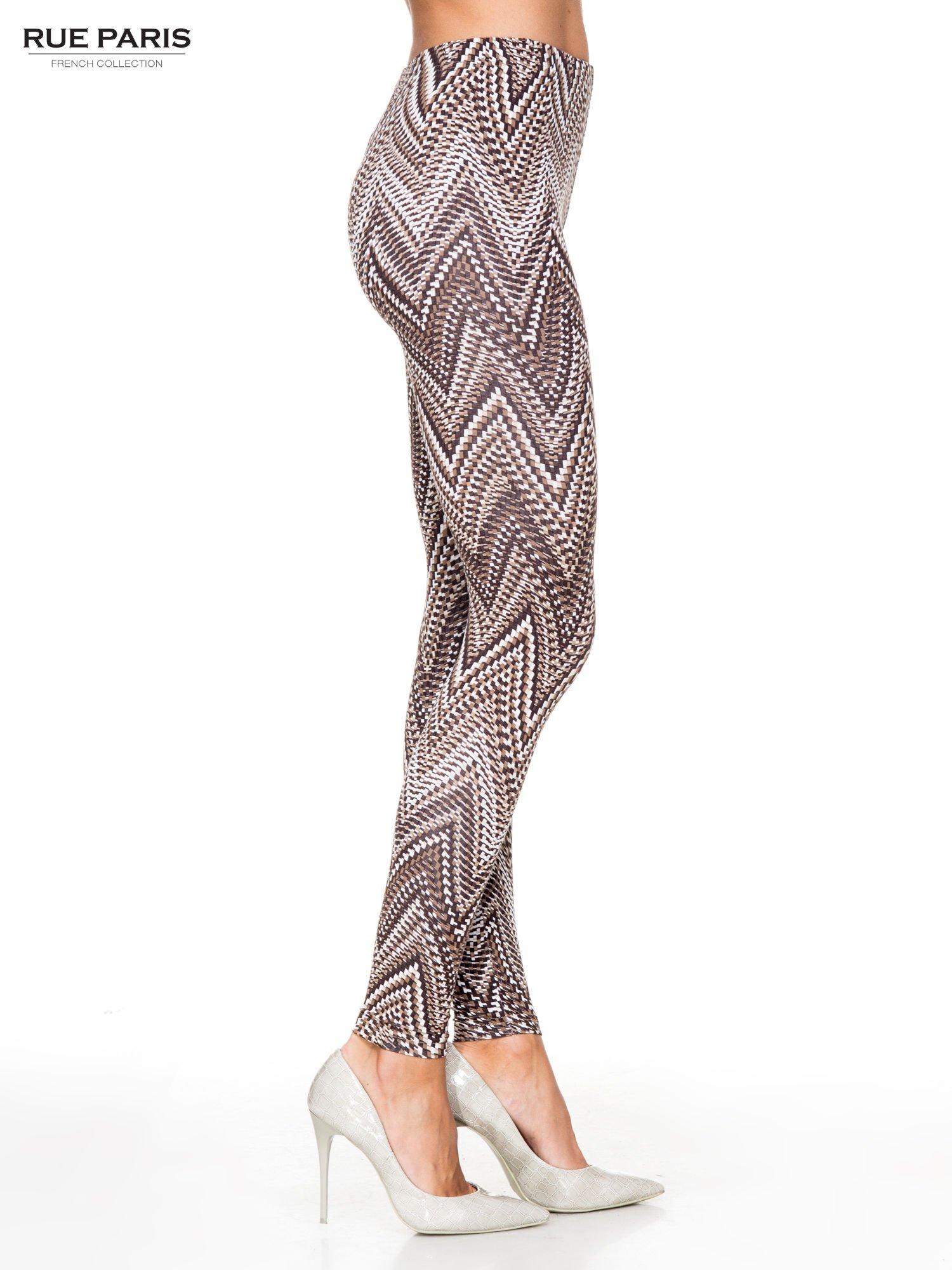 Brązowe legginsy z nadrukiem geometrycznym                                  zdj.                                  3