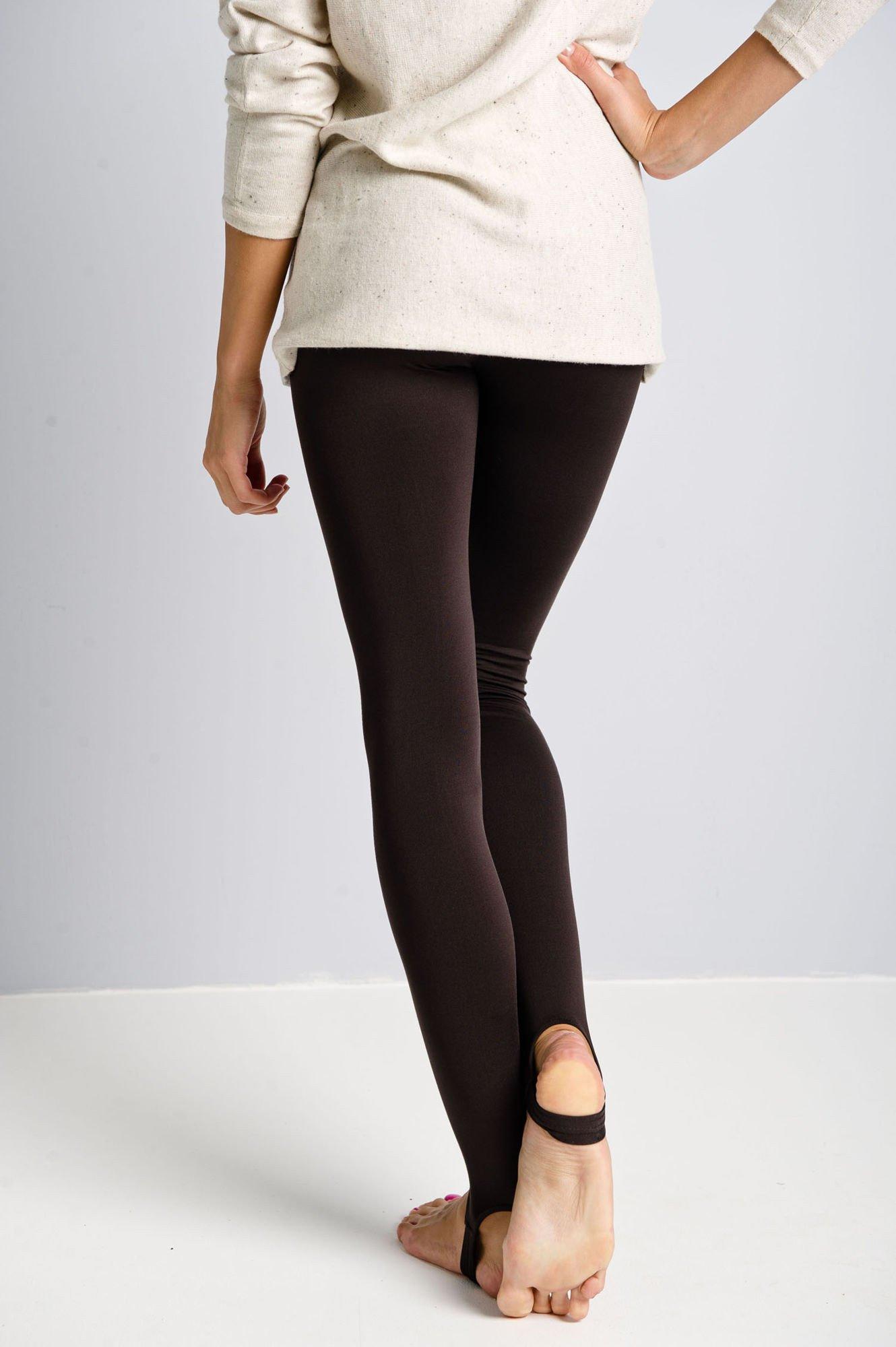 Brązowe legginsy zakładane na stopę                                  zdj.                                  3