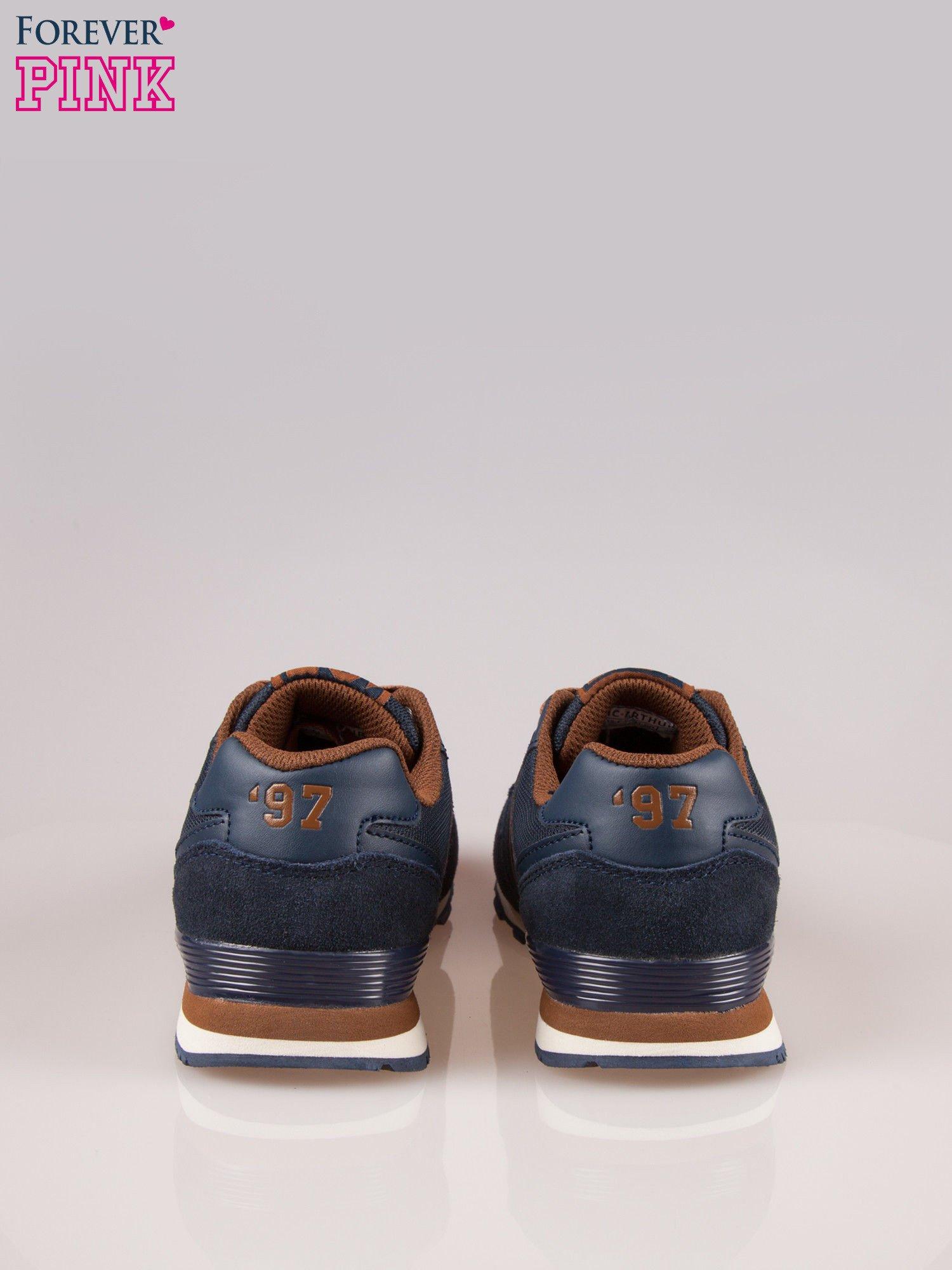 Brązowo-granatowe buty sportowe faux leather Heat                                  zdj.                                  3