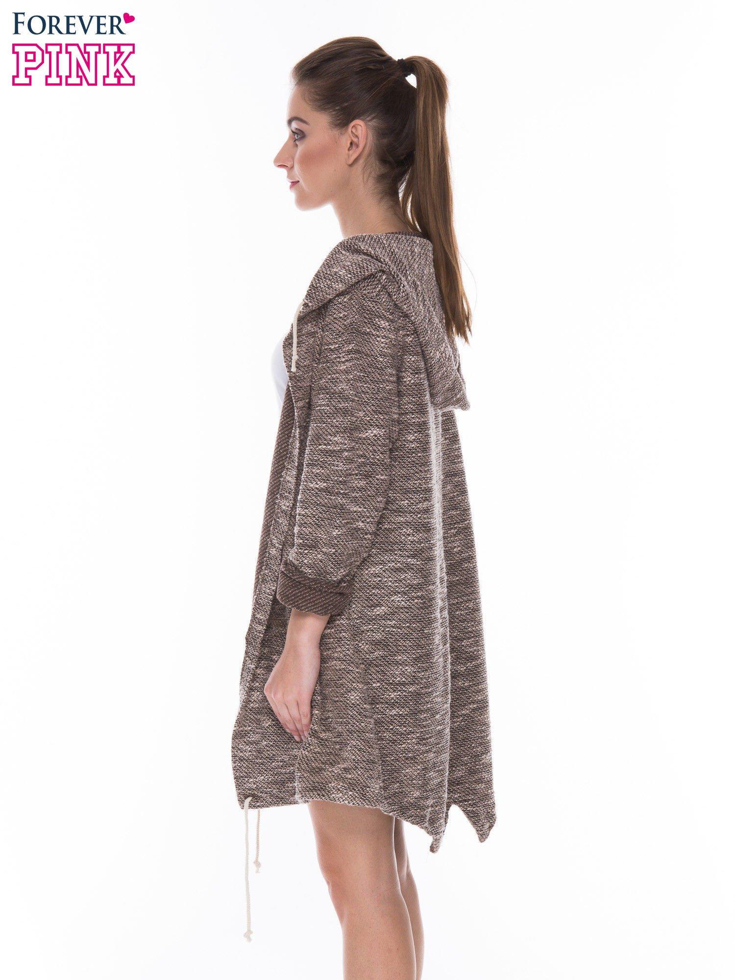 Brązowomelanżowa rozpinana bluza z kapturem ściągana na dole                                  zdj.                                  3