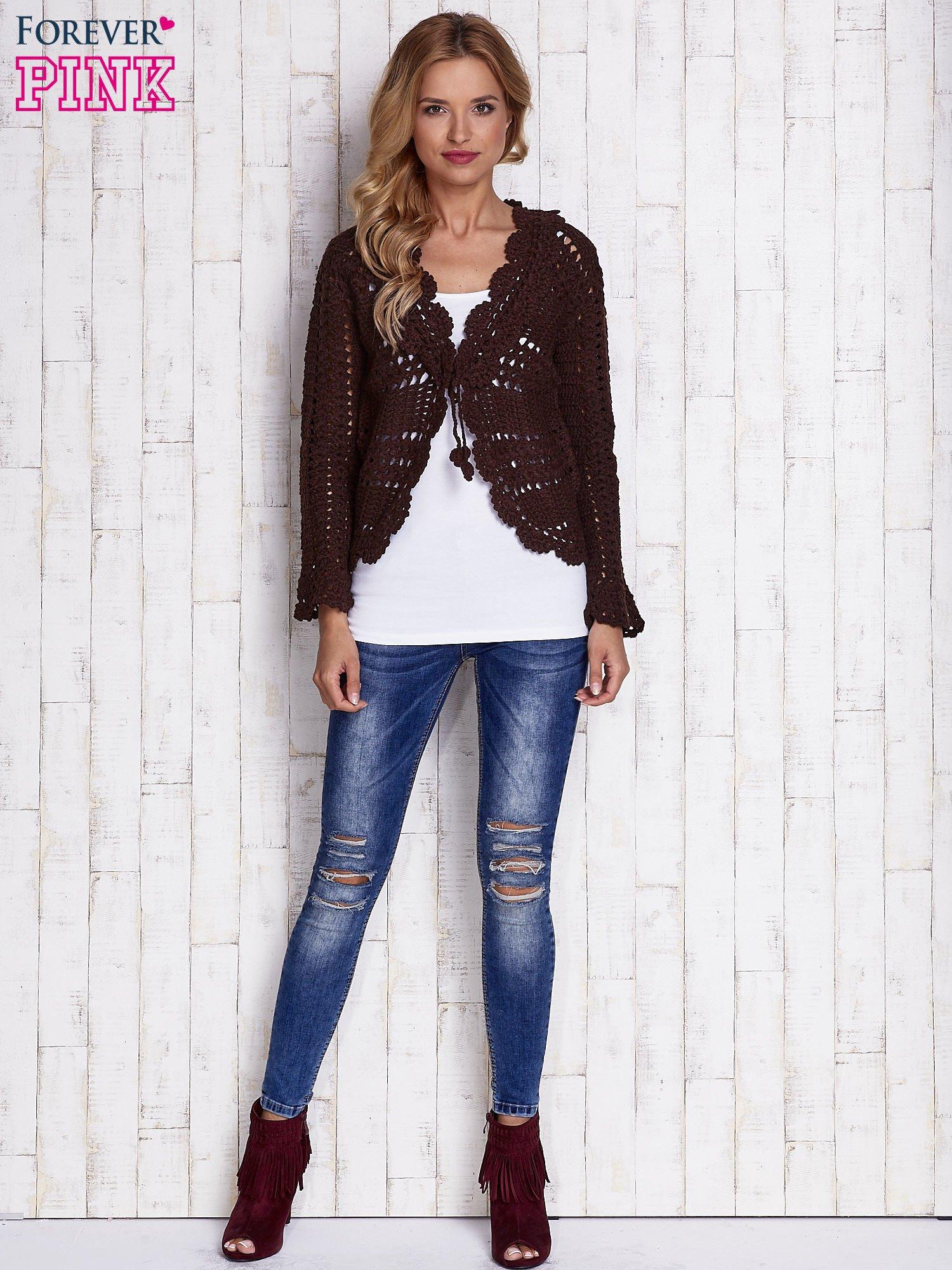Brązowy sweter z wiązaniem                                  zdj.                                  6