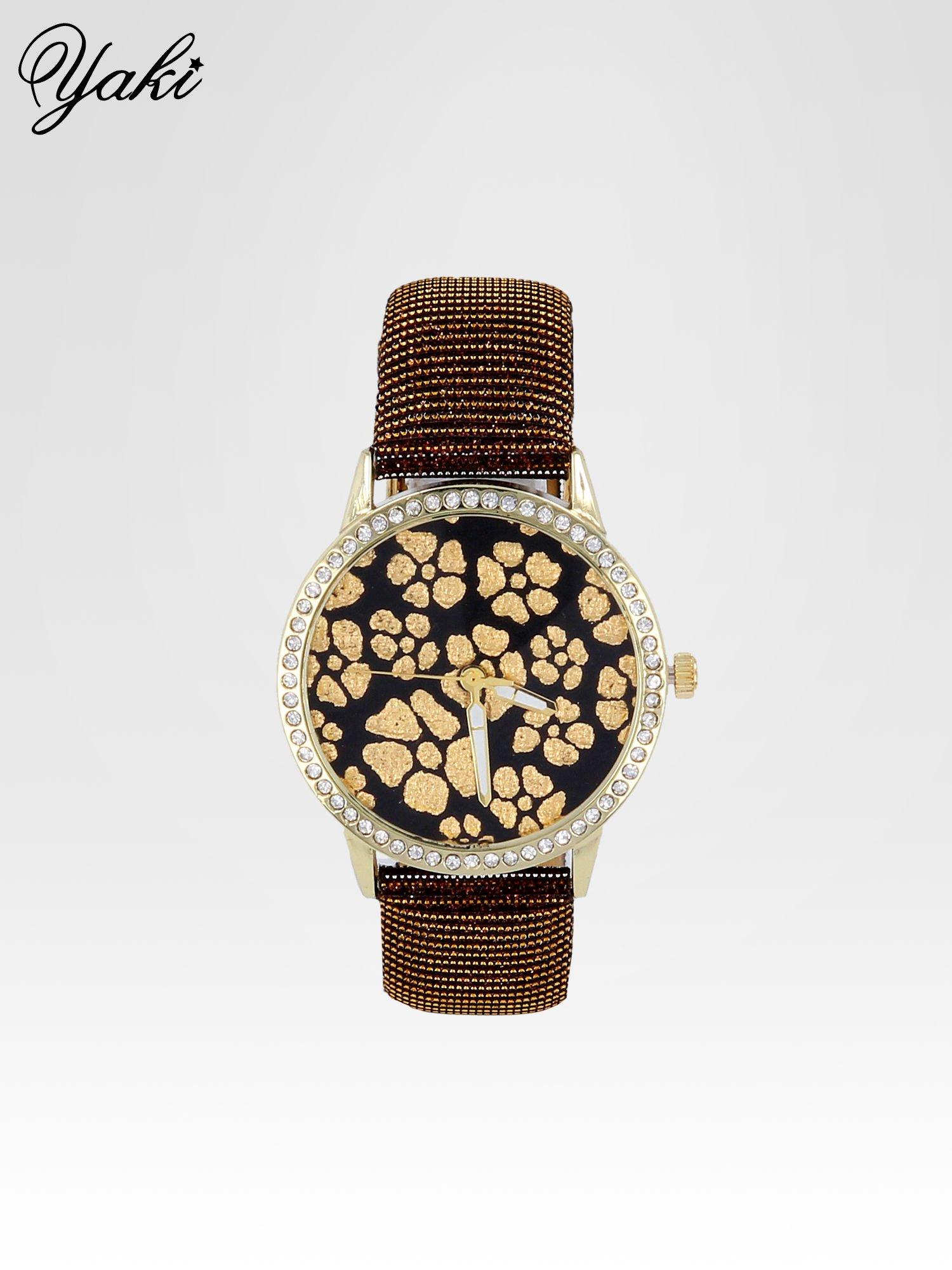 Brązowy zegarek damski na błyszczącym paski z cyrkoniami na kopercie                                  zdj.                                  1