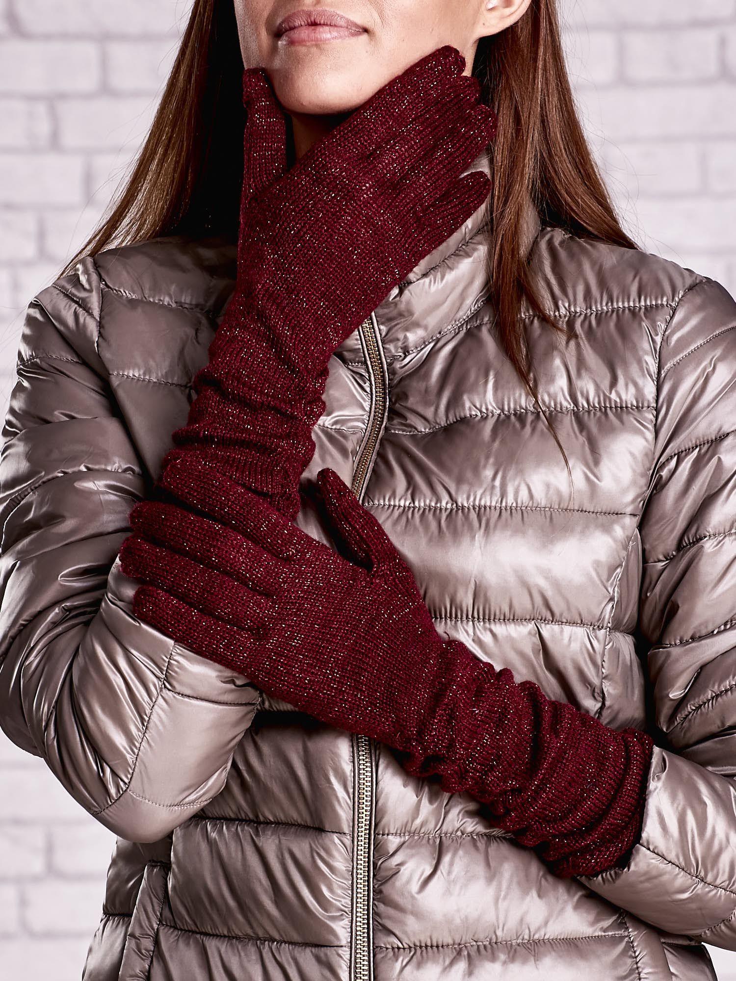 Burgundowe długie rękawiczki z metalizowaną nicią                                   zdj.                                  1