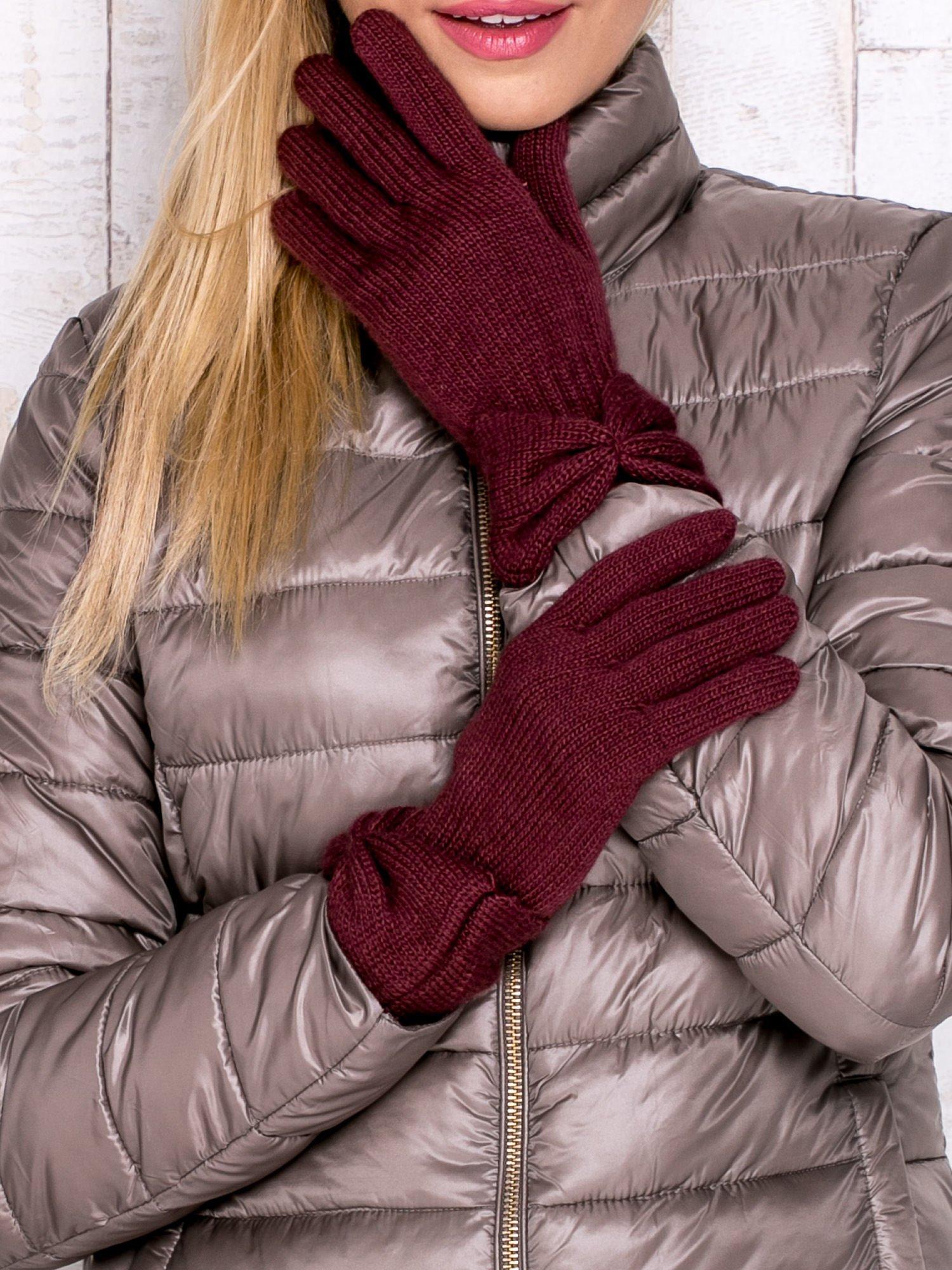 Burgundowe rękawiczki z kokardą w stylu retro                                  zdj.                                  1