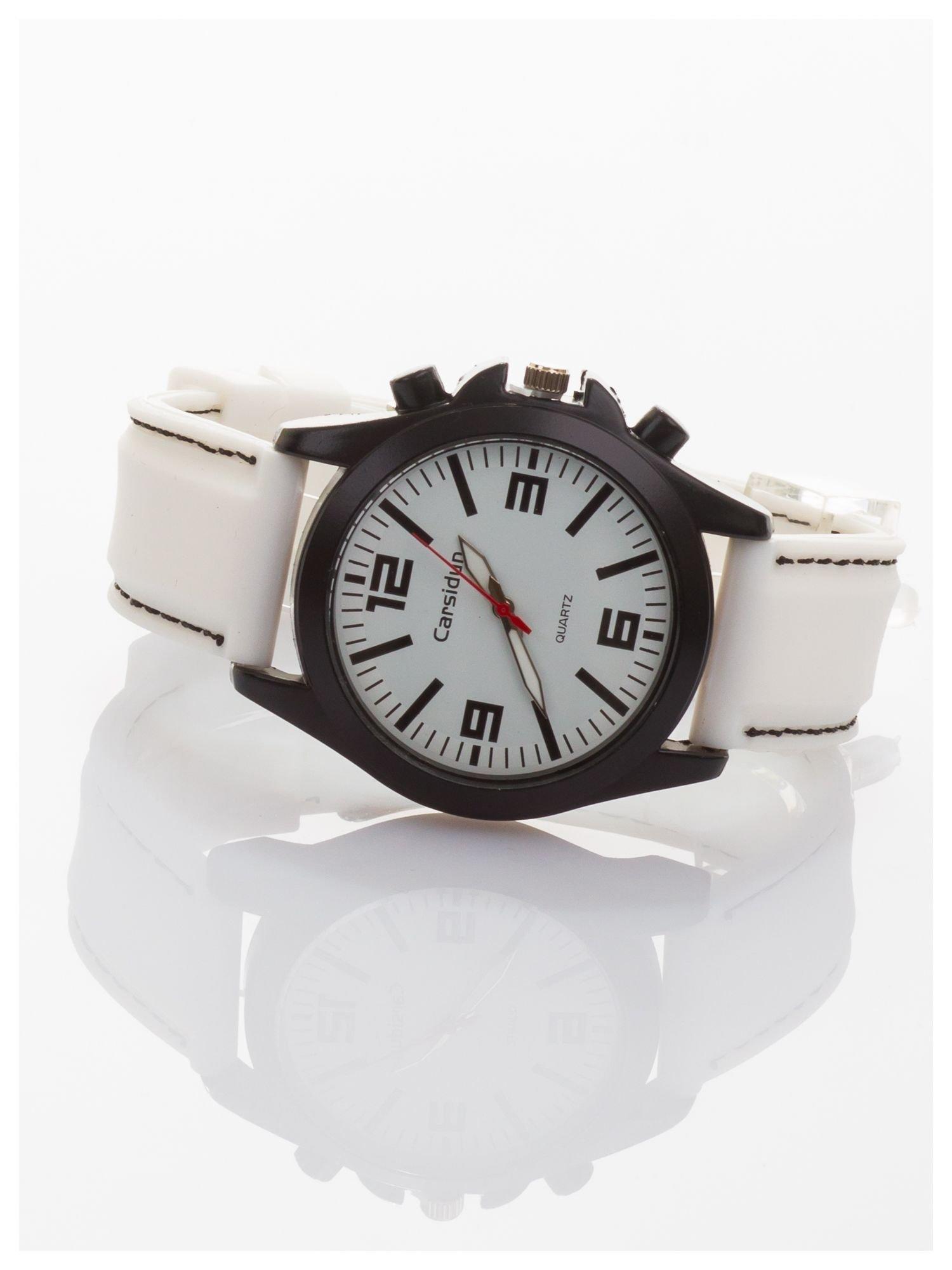 CARSIDUN Biały męski zegarek. Bardzo wygodny z silikonowym paskiem.                                  zdj.                                  2
