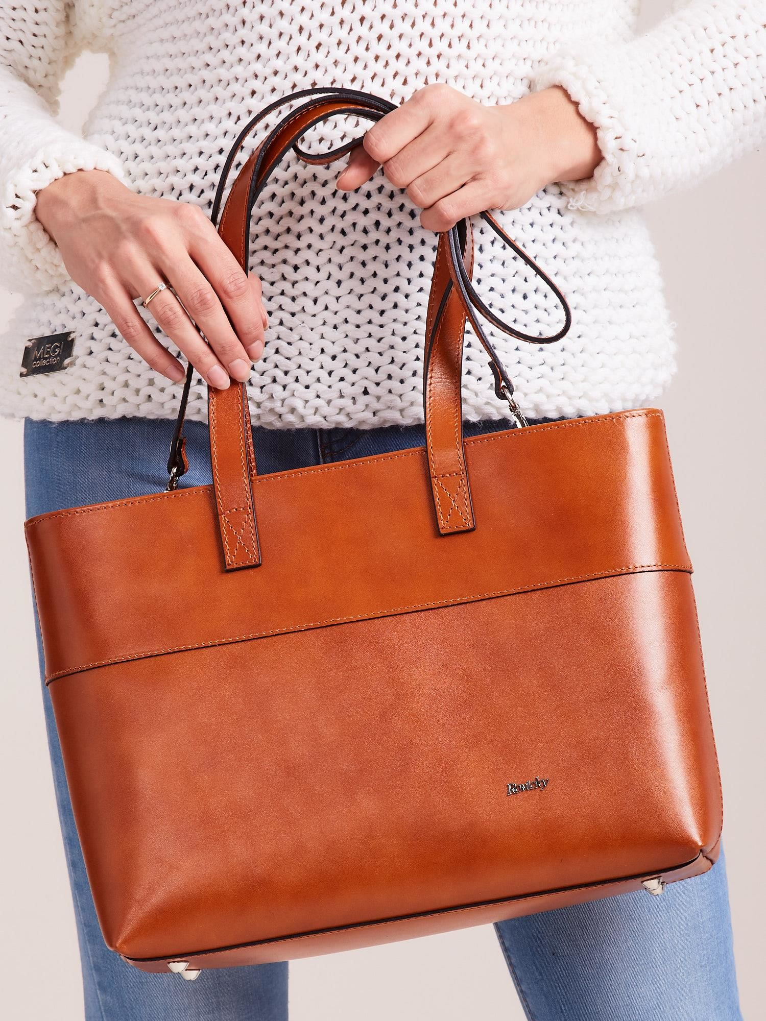 5e6e2601e2cc9 Brązowa skórzana torba shopper bag - Akcesoria torba - sklep eButik.pl