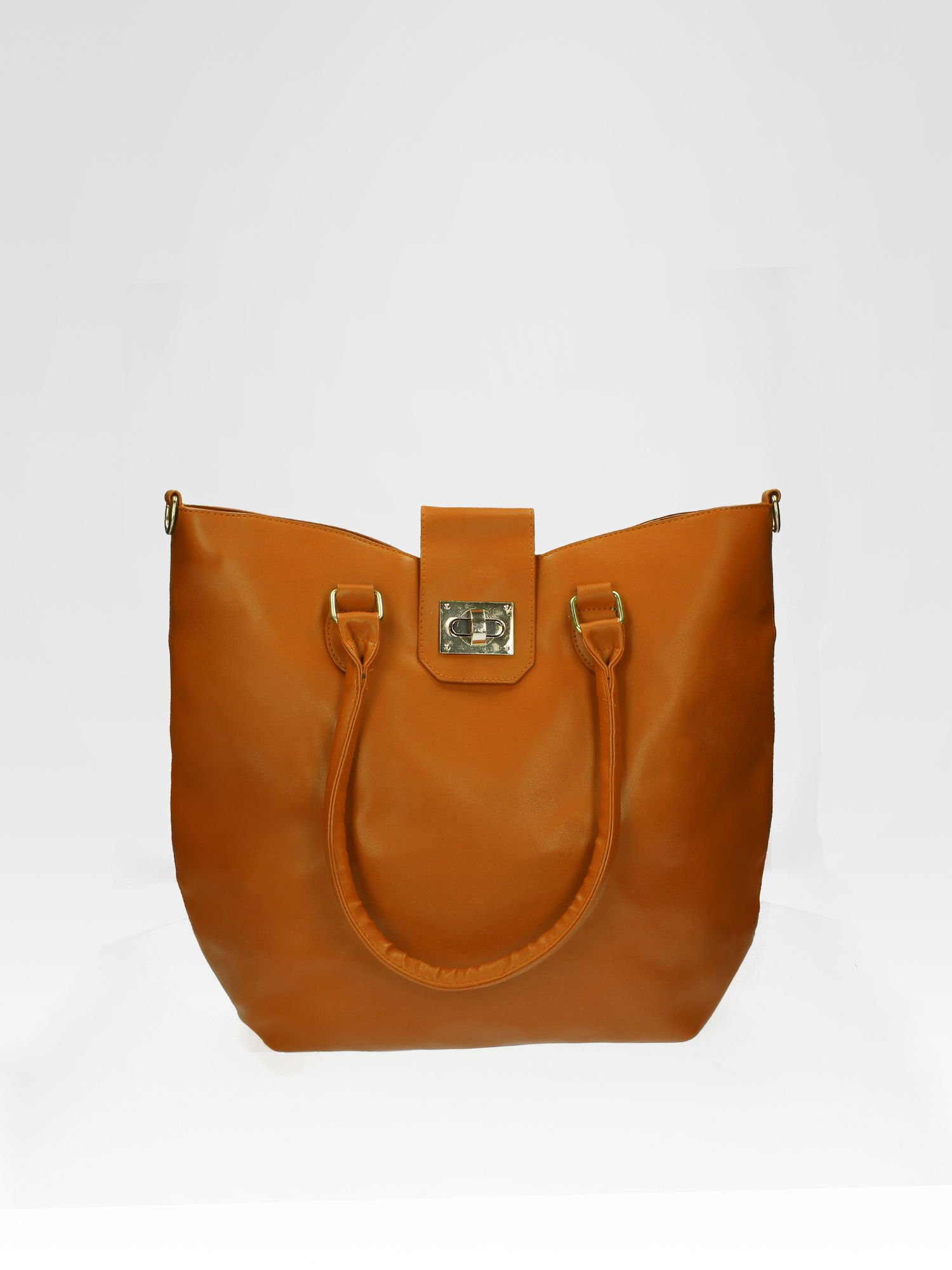 Camelowa torebka city bag z zatrzaskiem                                  zdj.                                  1