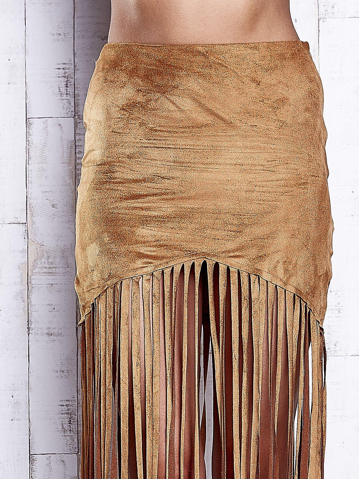Camelowa zamszowa spódnica z frędzlami                                  zdj.                                  5