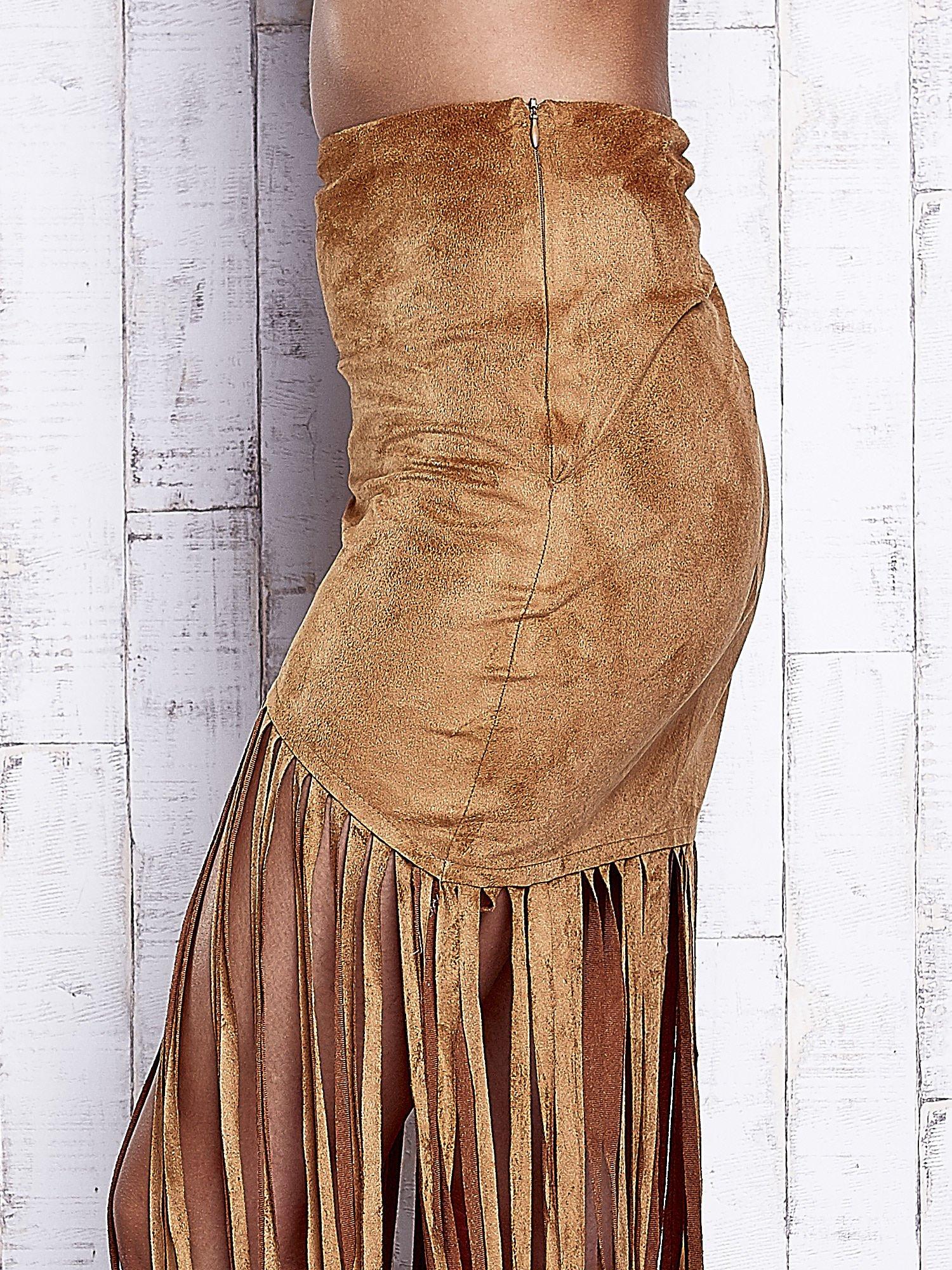 Camelowa zamszowa spódnica z frędzlami                                  zdj.                                  7