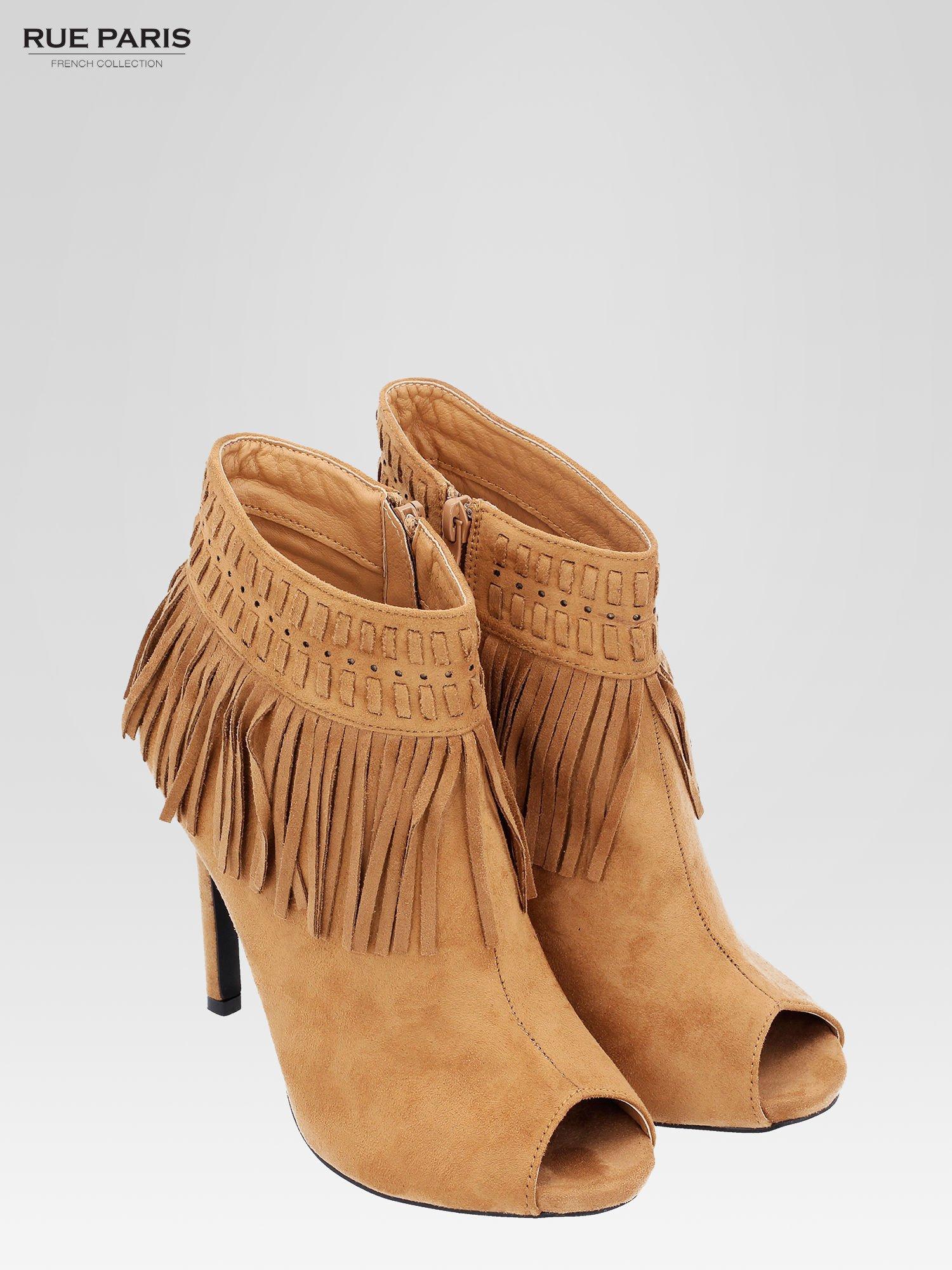 Camelowe botki faux suede Suzie open toe z frędzlami w stylu boho                                  zdj.                                  7