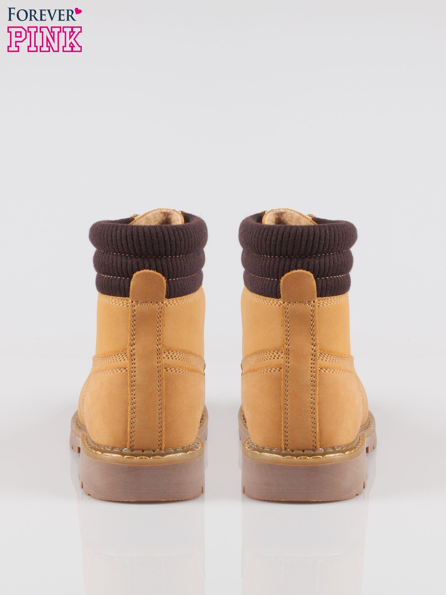 Camelowe buty trekkingowe traperki damskie z elastycznym kołnierzem ze skóry naturalnej                                  zdj.                                  3