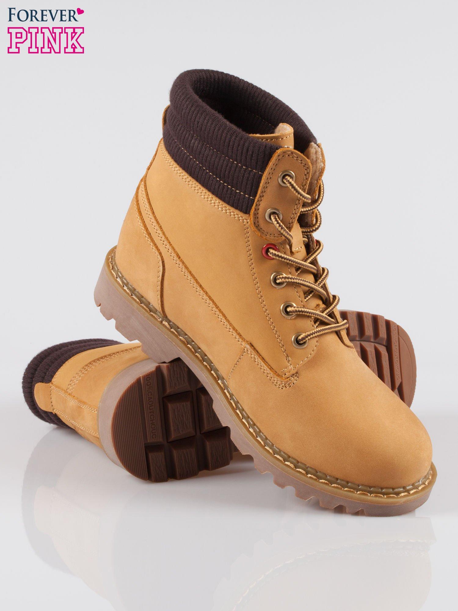 Camelowe buty trekkingowe traperki damskie z elastycznym kołnierzem ze skóry naturalnej                                  zdj.                                  4