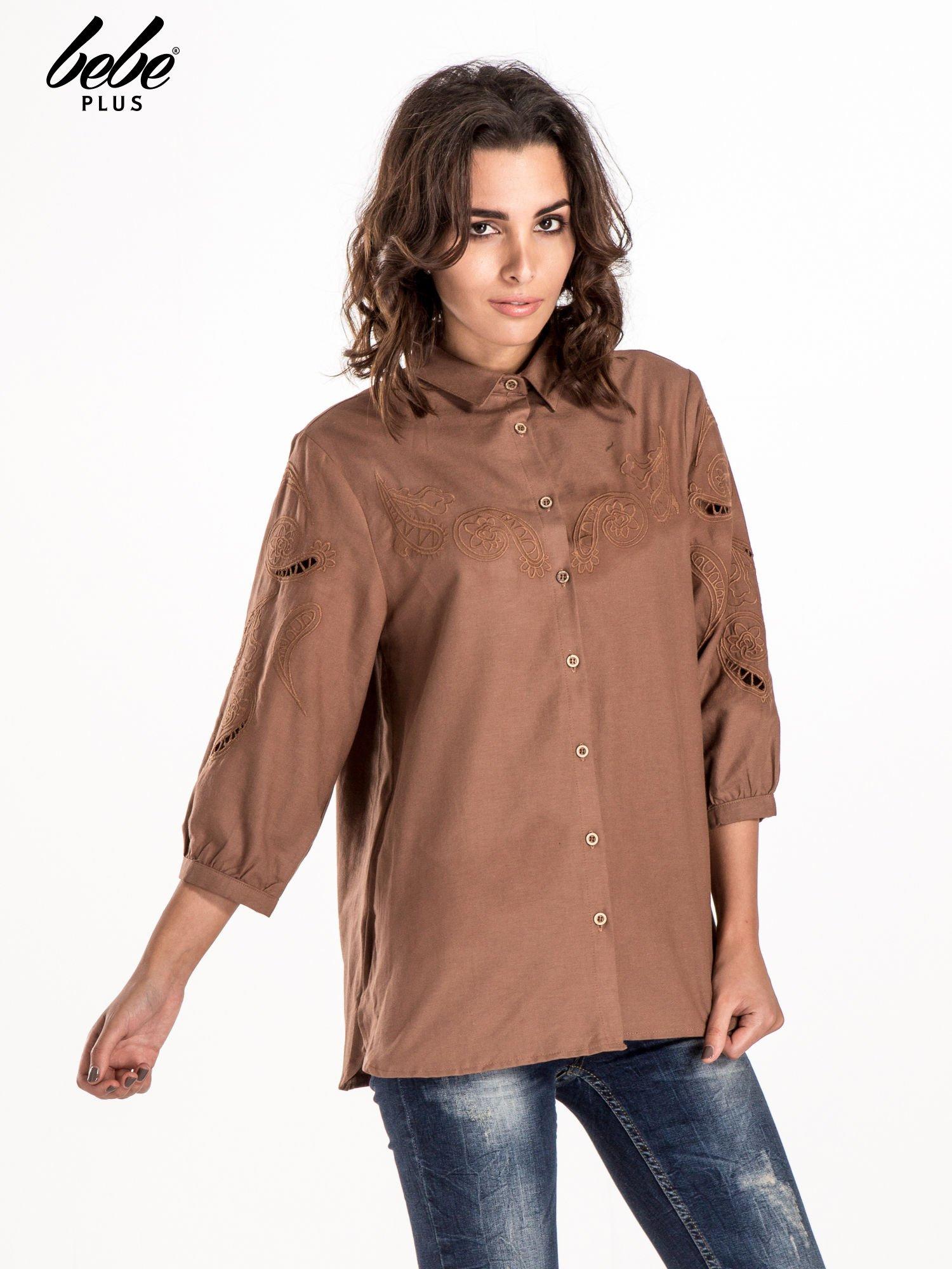 Ciemnobeżowa koszula z szerszymi rękawami                                  zdj.                                  1