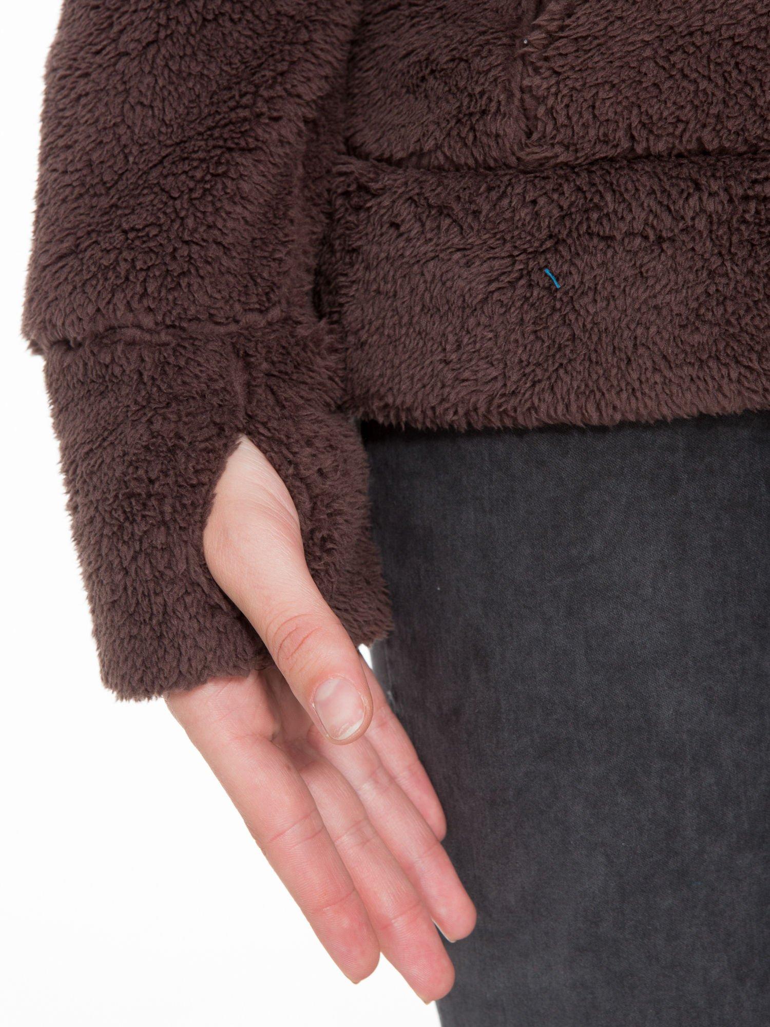 Ciemnobrązowa polarowa bluza miś z kapturem z uszkami i pomponami                                  zdj.                                  13