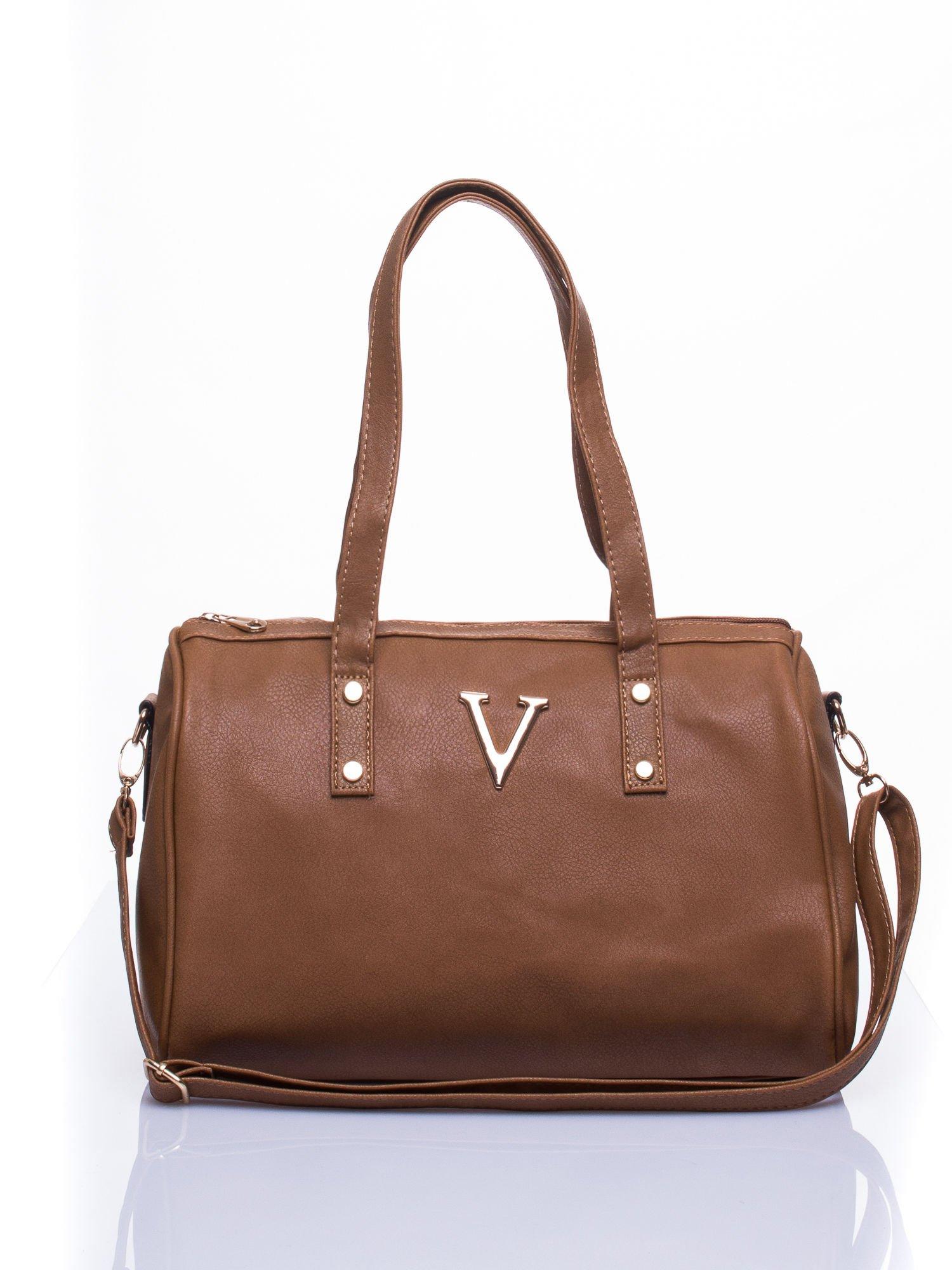 Ciemnobrązowa torba na ramię ze złotym emblematem                                  zdj.                                  2