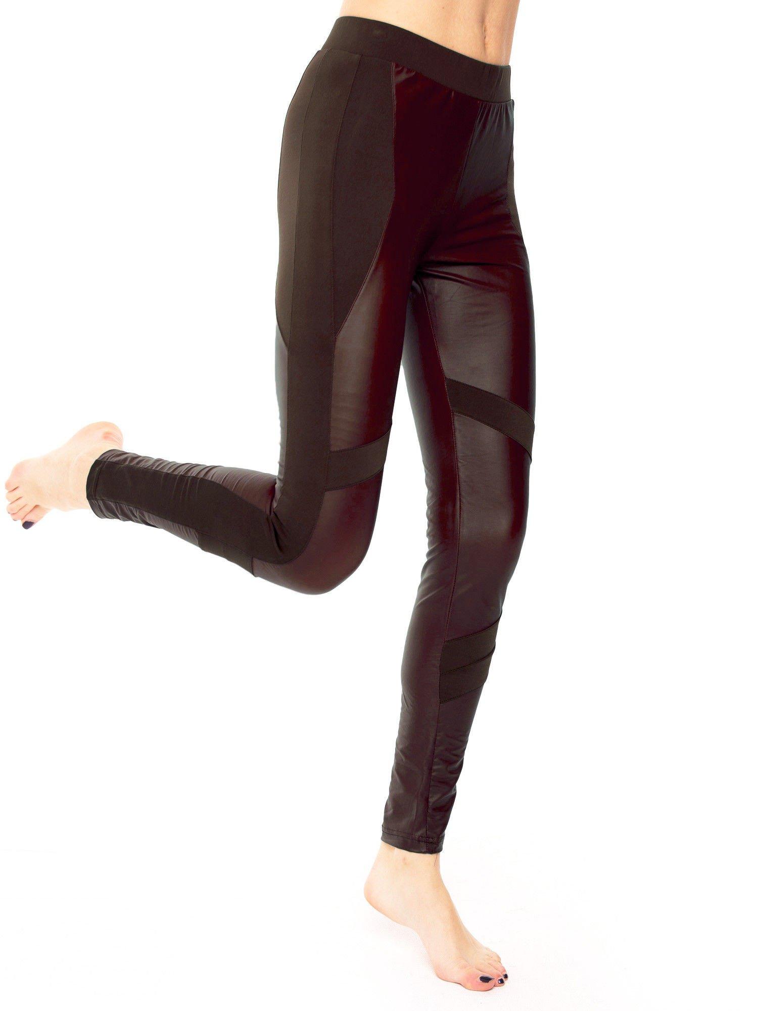 Ciemnobrązowe legginsy modelujące ze skórzanymi panelami                                  zdj.                                  2