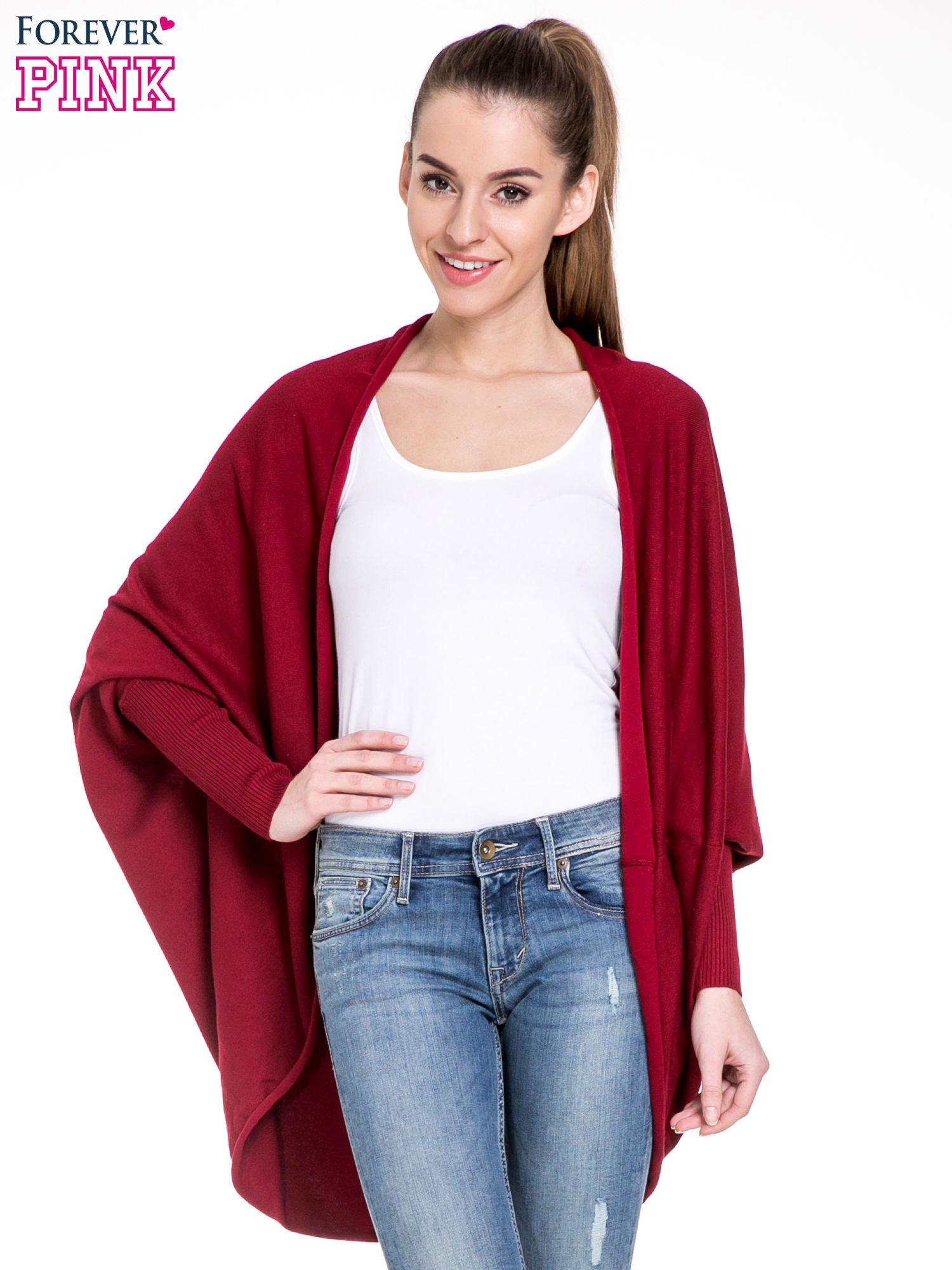 Ciemnoczerwony sweter narzutka z nietoperzowymi rękawami                                  zdj.                                  1