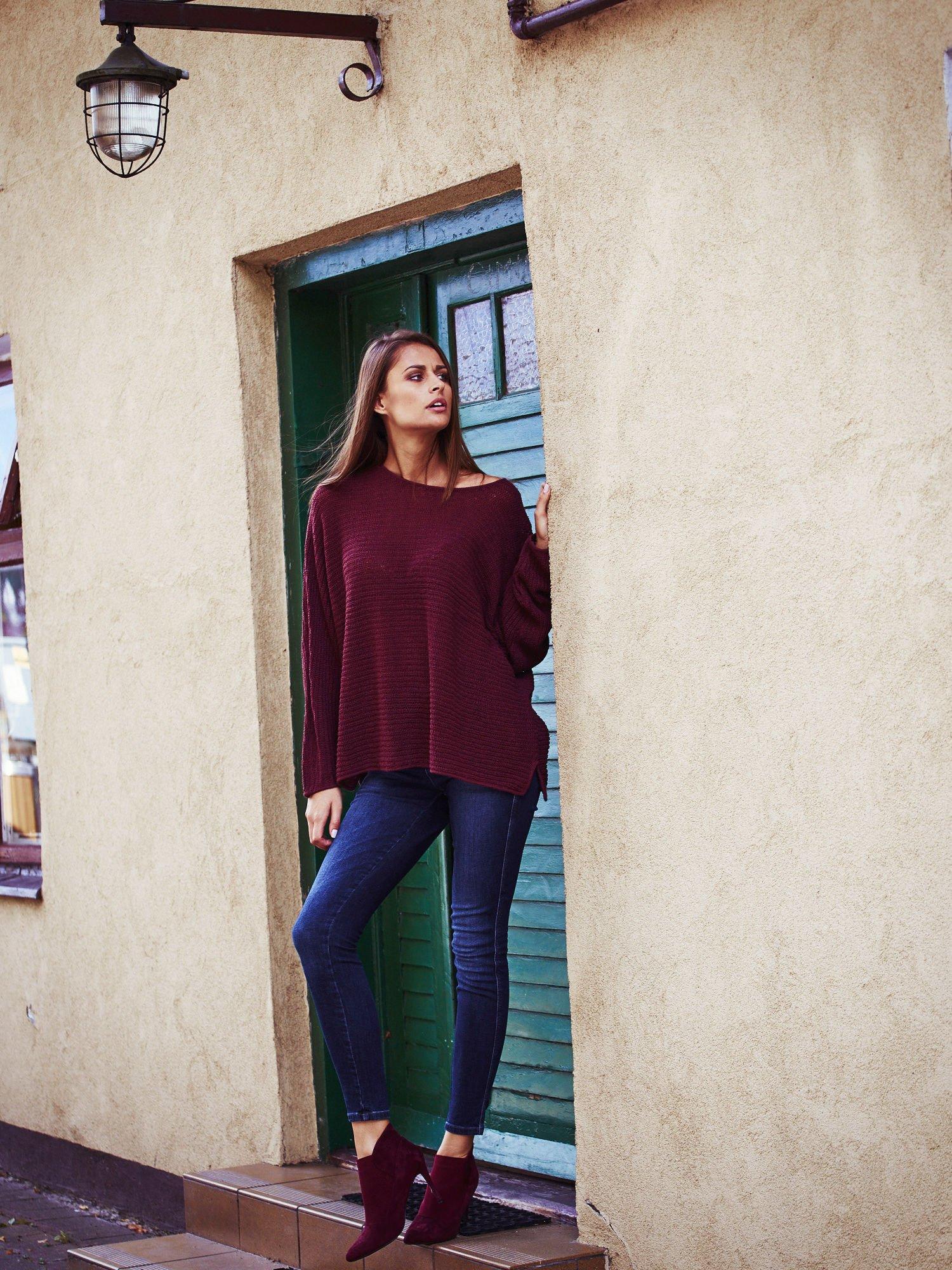 Ciemnoczerwony sweter oversize z rozcięciami po bokach                                  zdj.                                  10