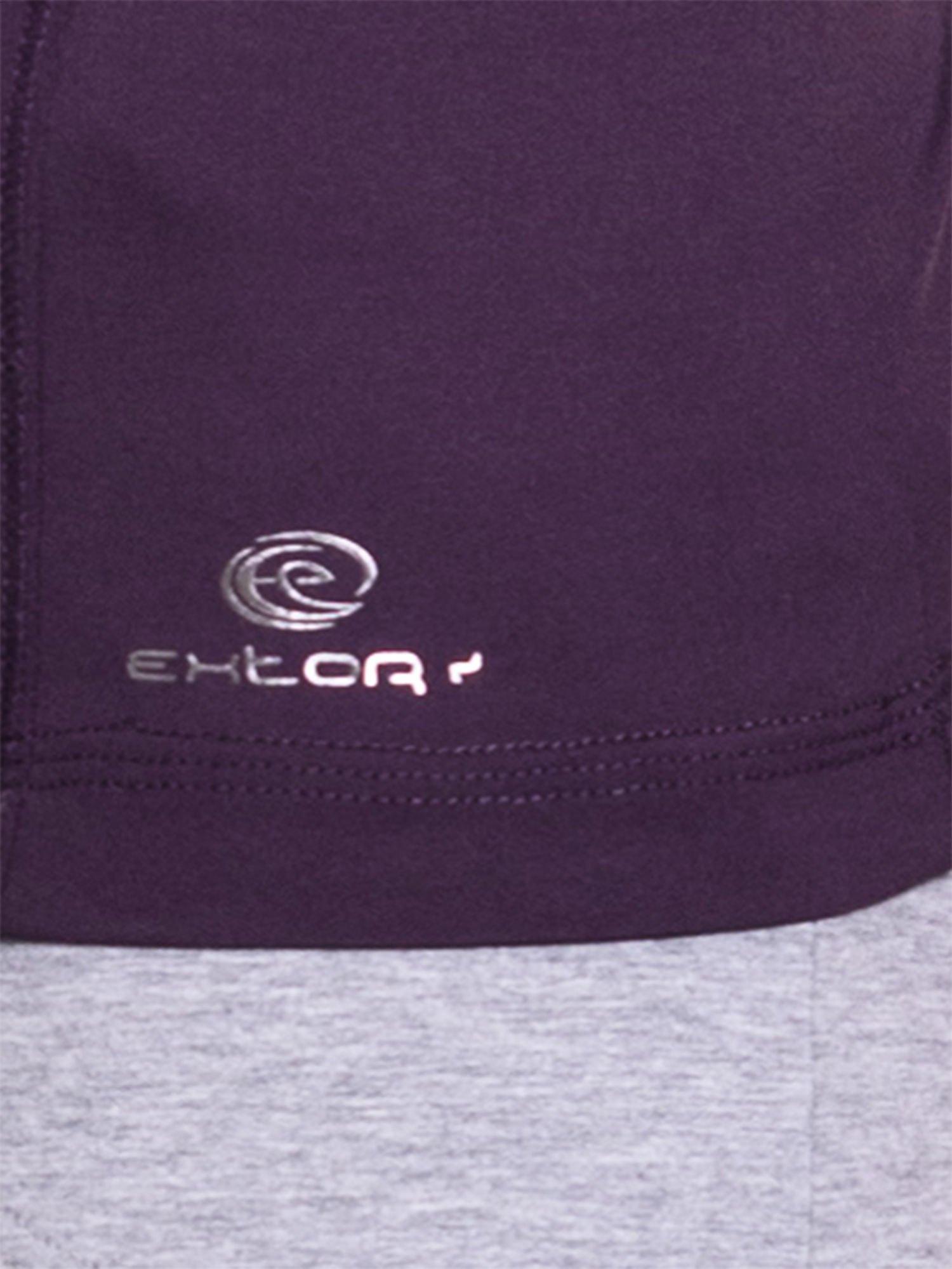Ciemnofioletowy damski t-shirt sportowy z dekoltem U                                  zdj.                                  5